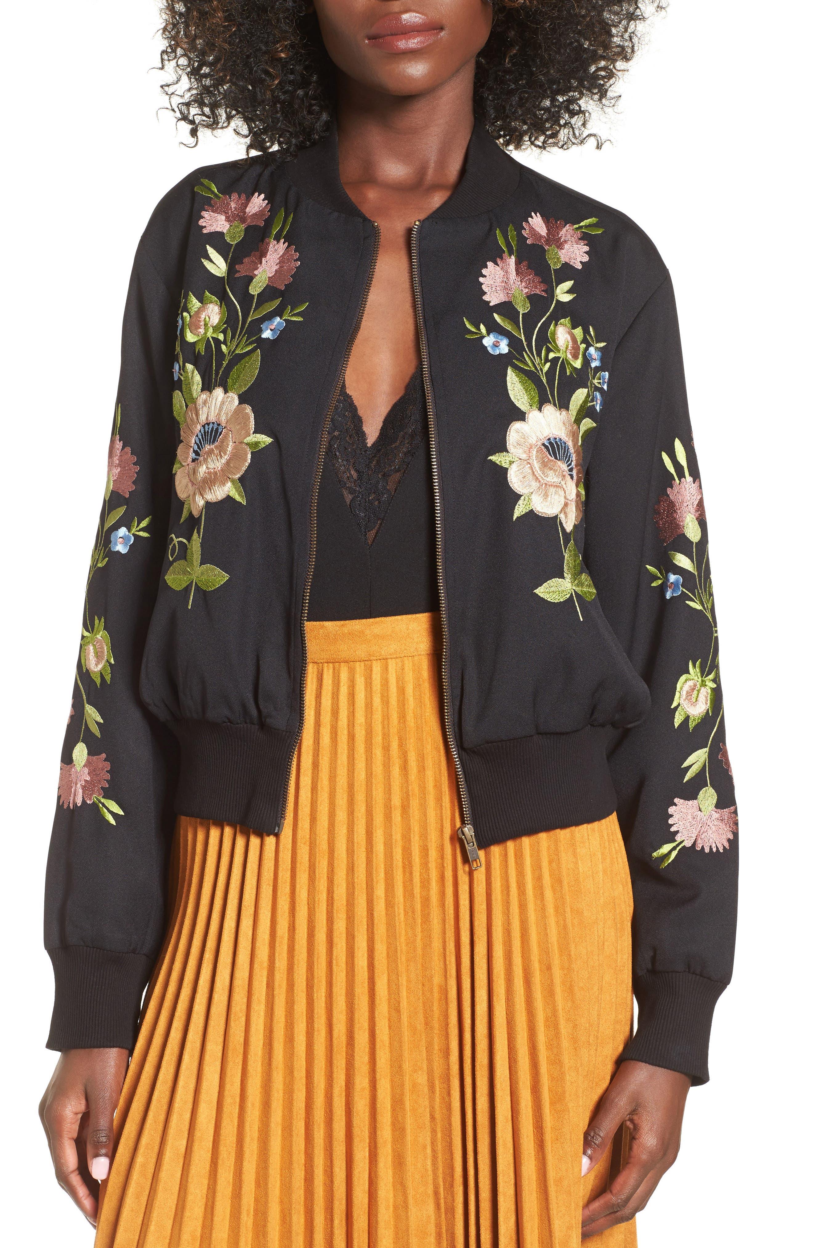 GLAMOROUS, Floral Embroidered Bomber Jacket, Alternate thumbnail 3, color, 001