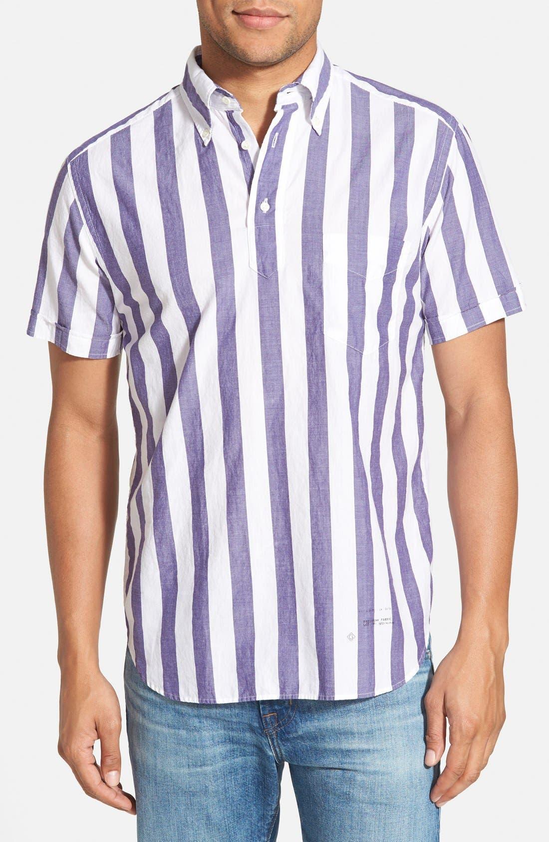 GANT RUGGER, E-Z Fit Madras Stripe Woven Pullover Shirt, Main thumbnail 1, color, 436