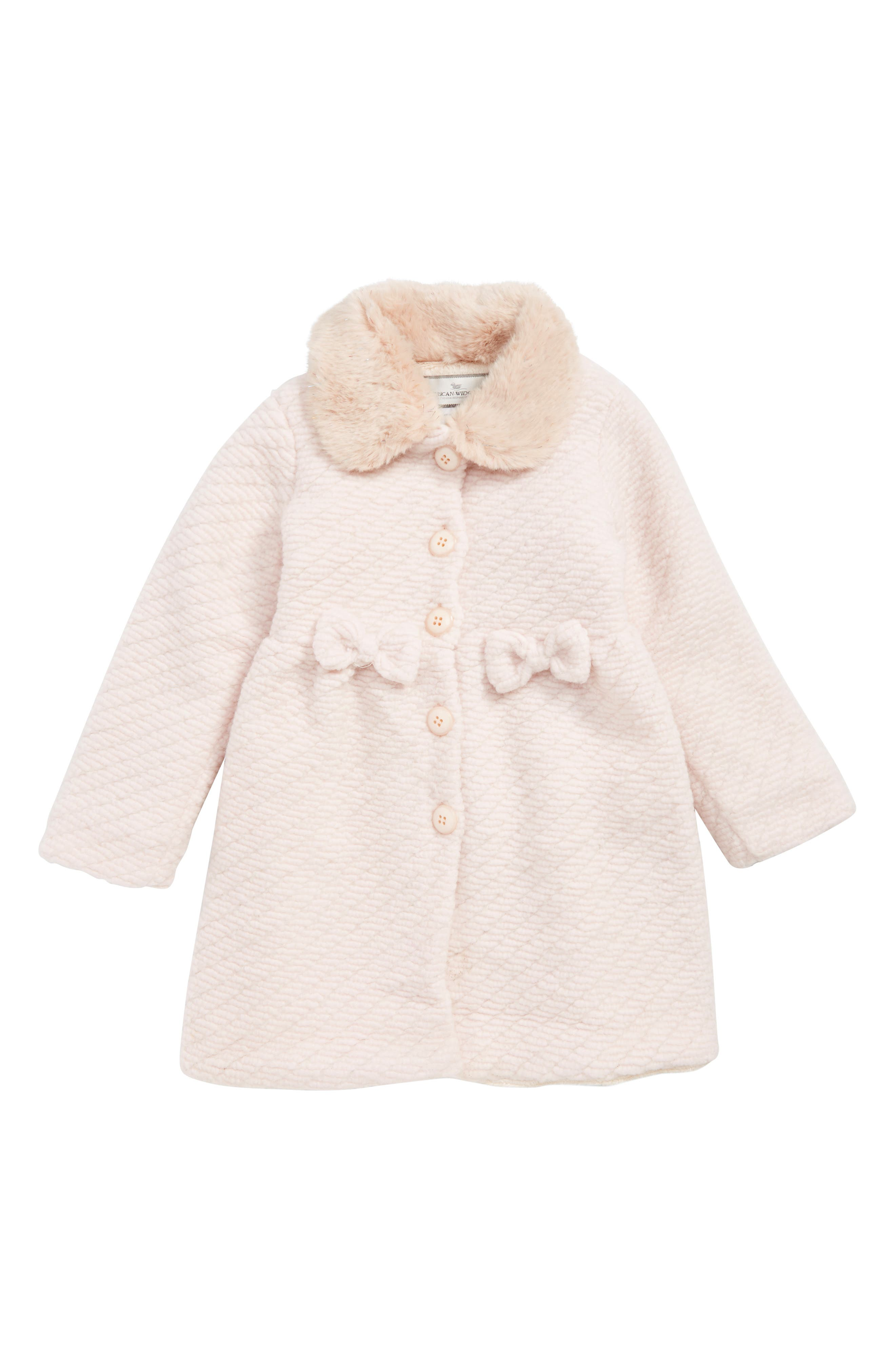 WIDGEON Faux Fur Collar Coat, Main, color, PINK TWILL