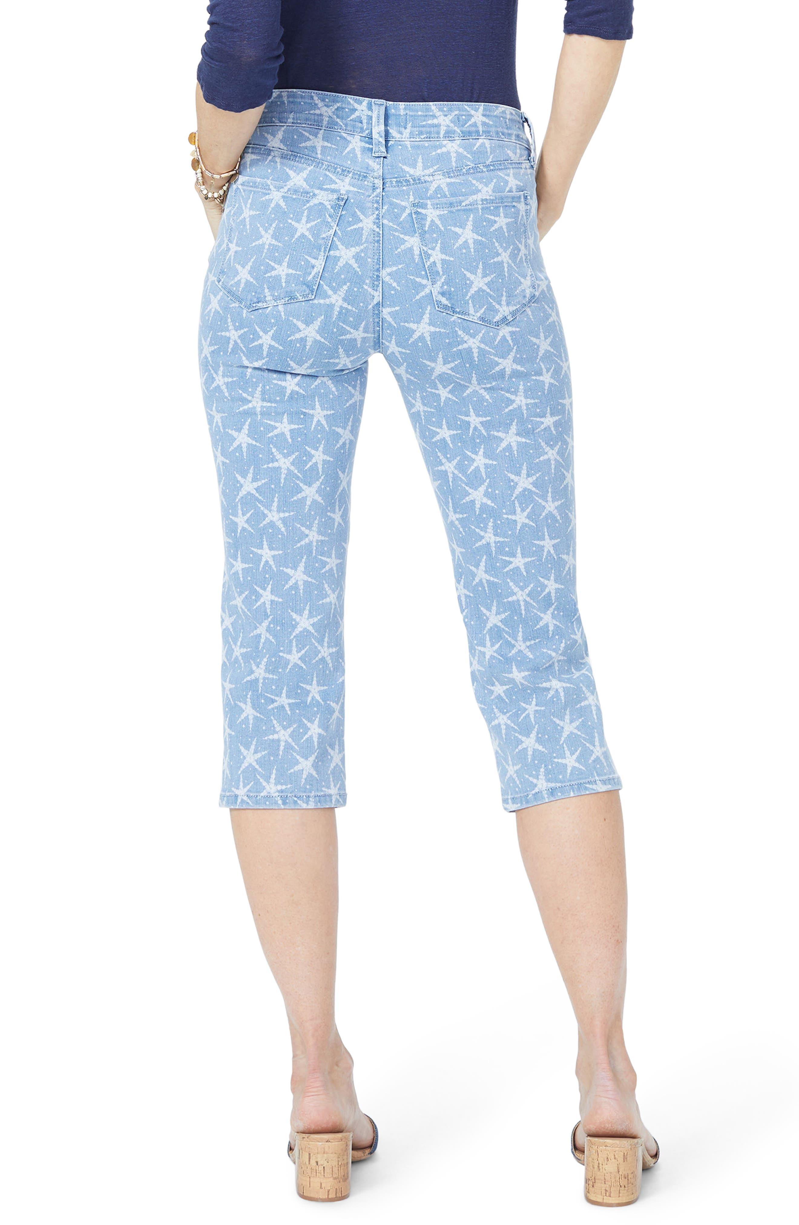 NYDJ, High Waist Seastar Print Stretch Crop Jeans, Alternate thumbnail 2, color, SEASTAR DISCHARGE PRINT