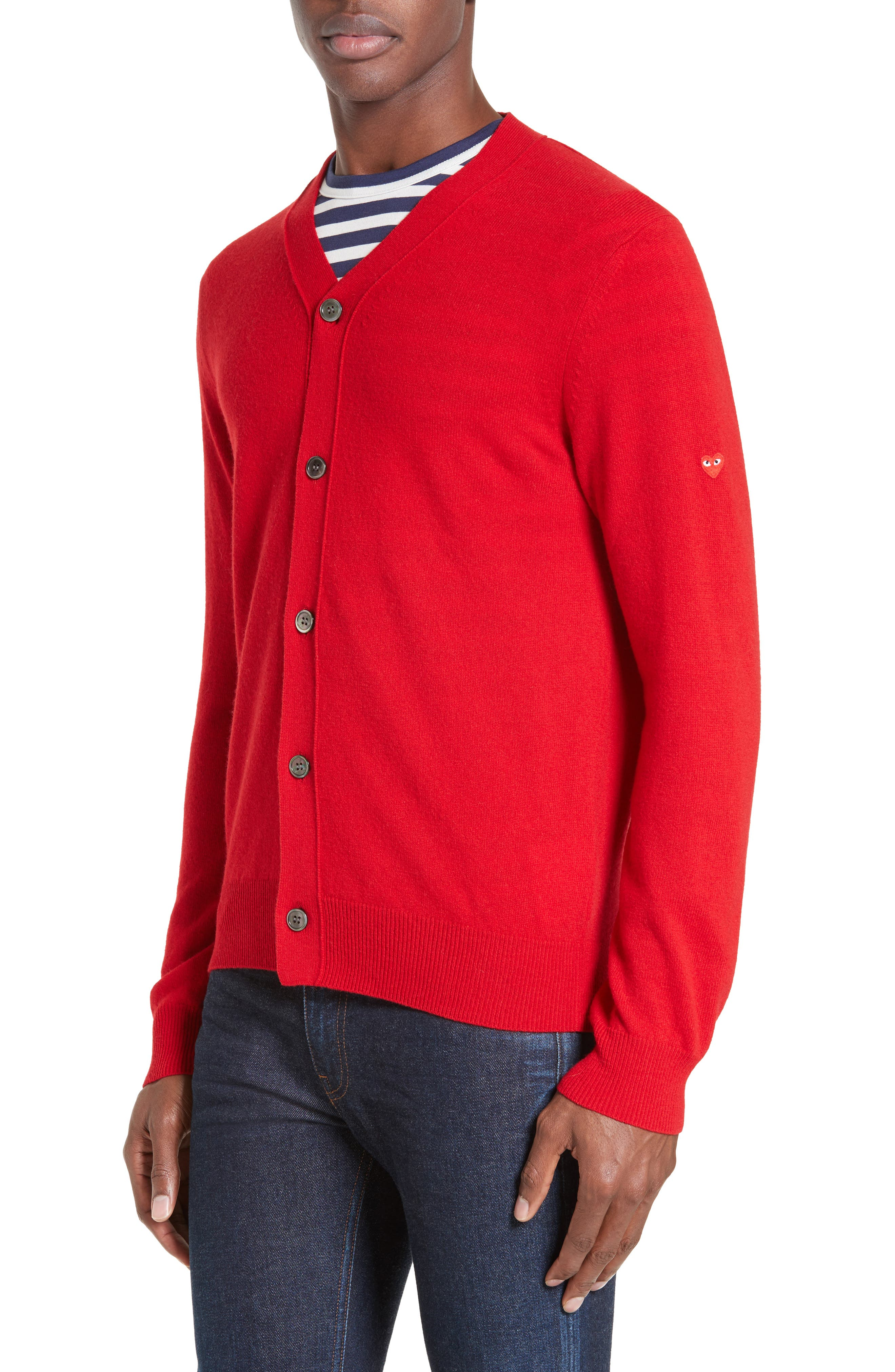COMME DES GARÇONS PLAY, Wool Cardigan, Main thumbnail 1, color, RED
