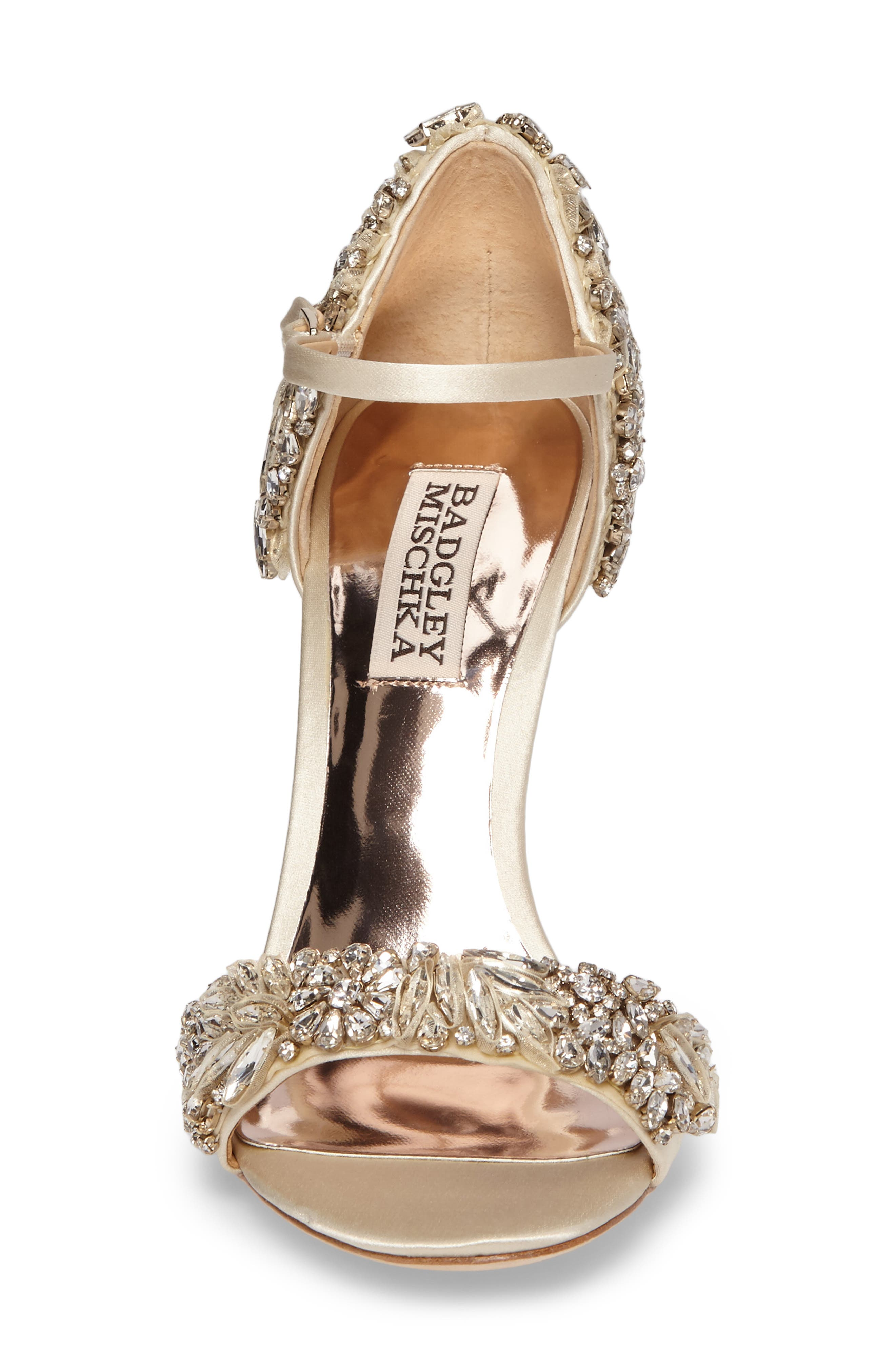 BADGLEY MISCHKA COLLECTION, Badgley Mischka Tampa Ankle Strap Sandal, Alternate thumbnail 4, color, IVORY SATIN