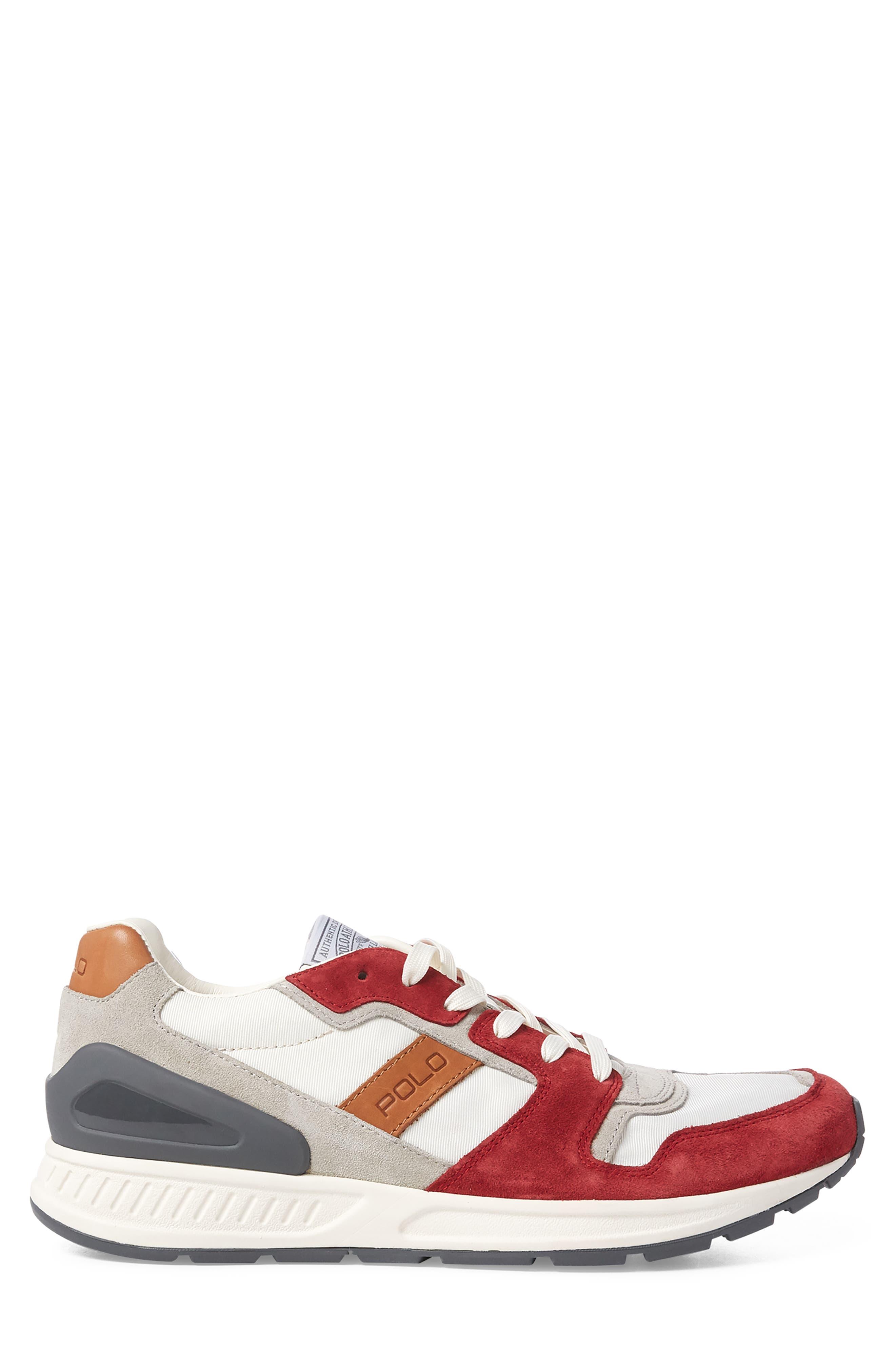 POLO RALPH LAUREN, Train 100 Retro Sneaker, Alternate thumbnail 2, color, RED NYLON/ SUEDE