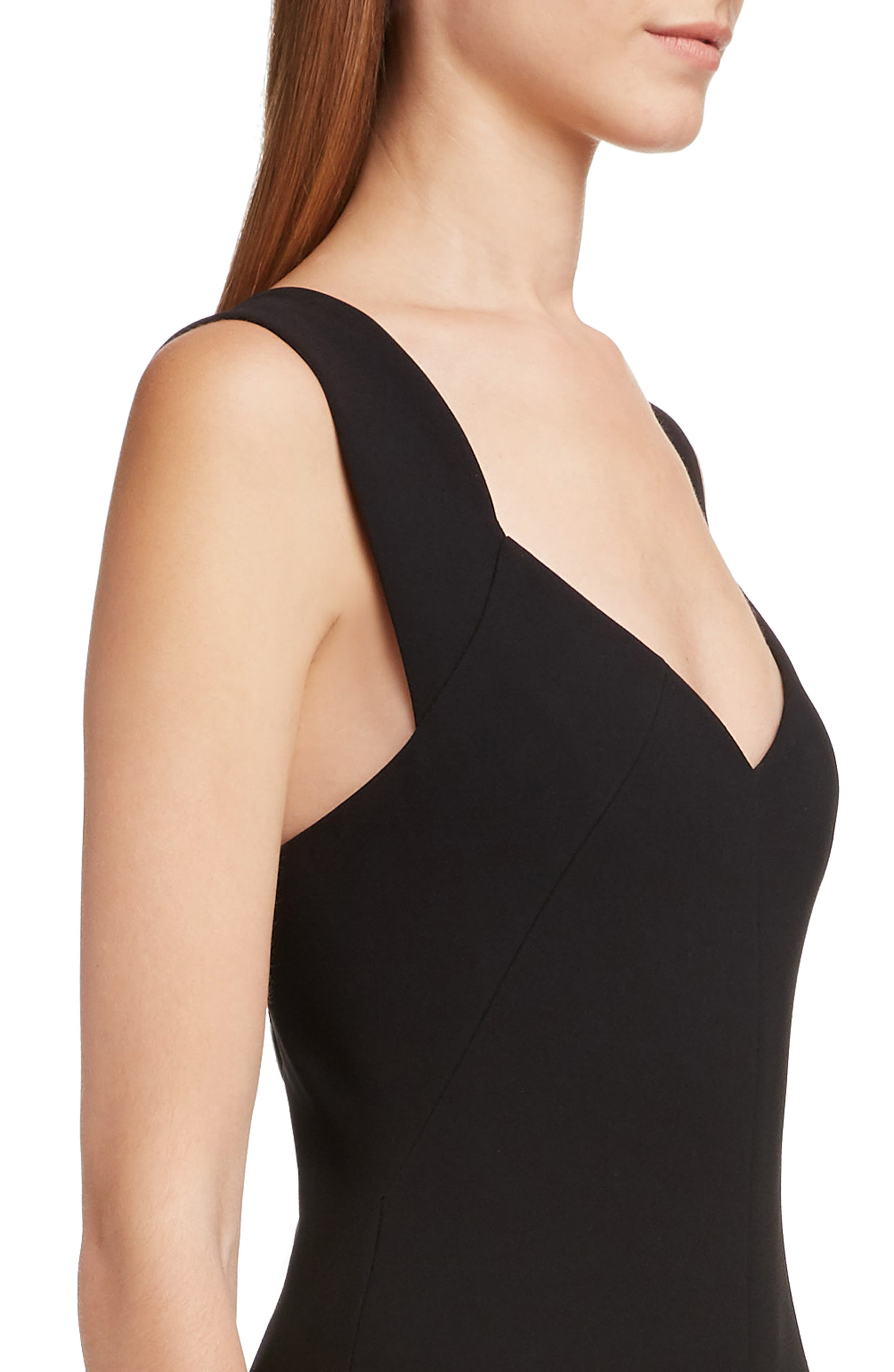 VICTORIA BECKHAM, Sweetheart Neck Body-Con Dress, Alternate thumbnail 4, color, BLACK