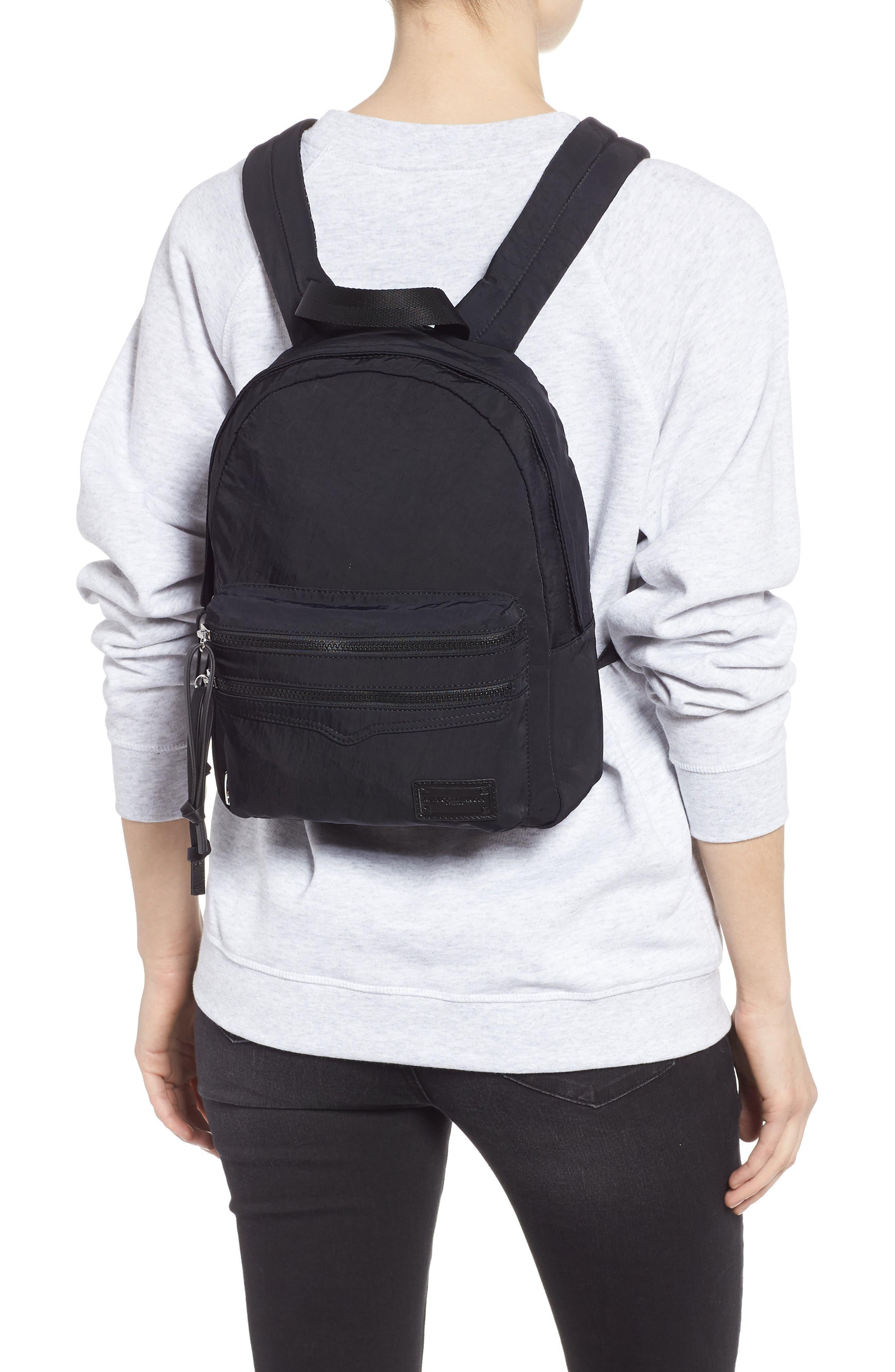 REBECCA MINKOFF, Nylon Backpack, Alternate thumbnail 2, color, BLACK