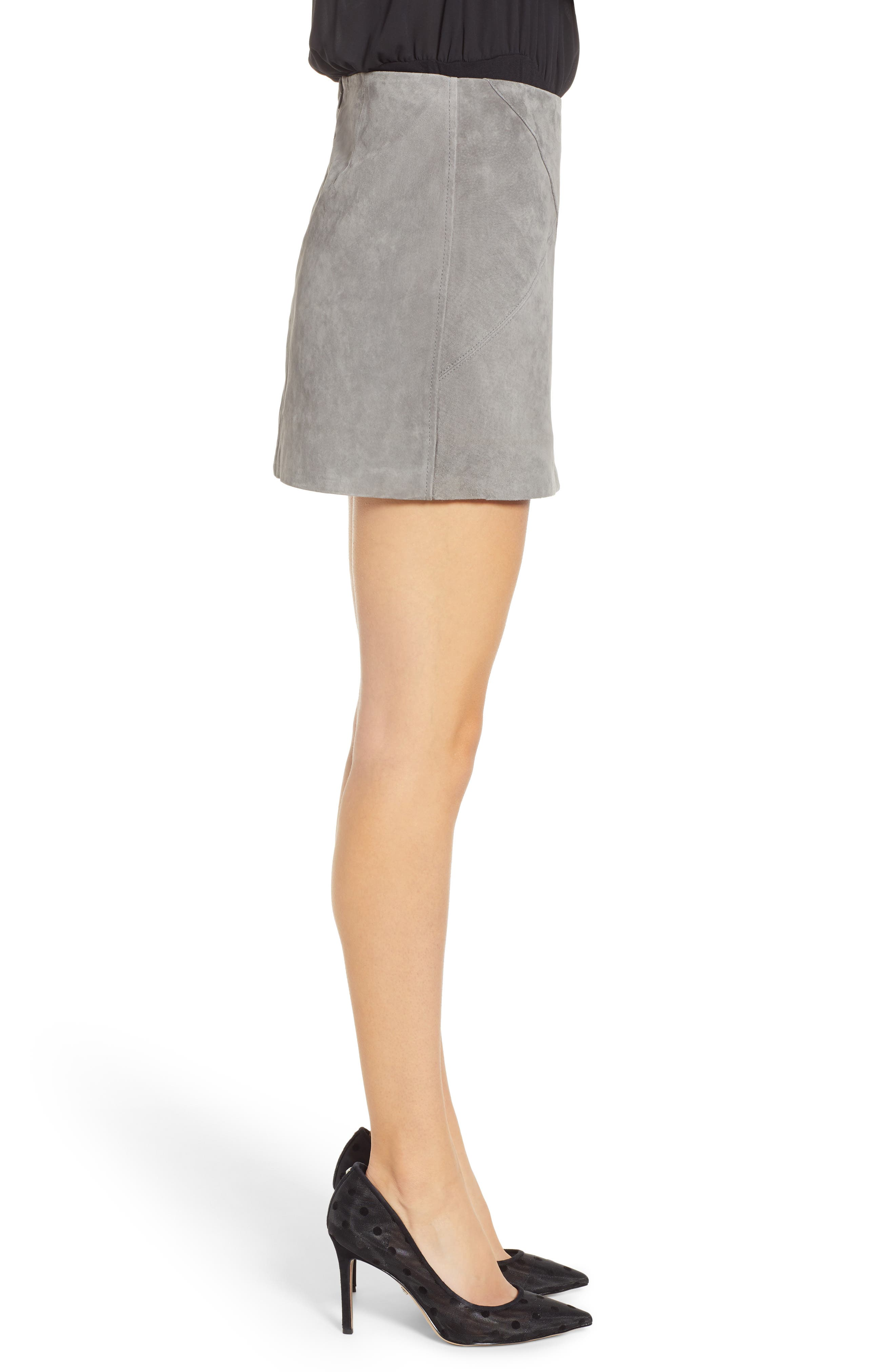 BLANKNYC, Lace-Up Suede Miniskirt, Alternate thumbnail 3, color, SOFT FOG