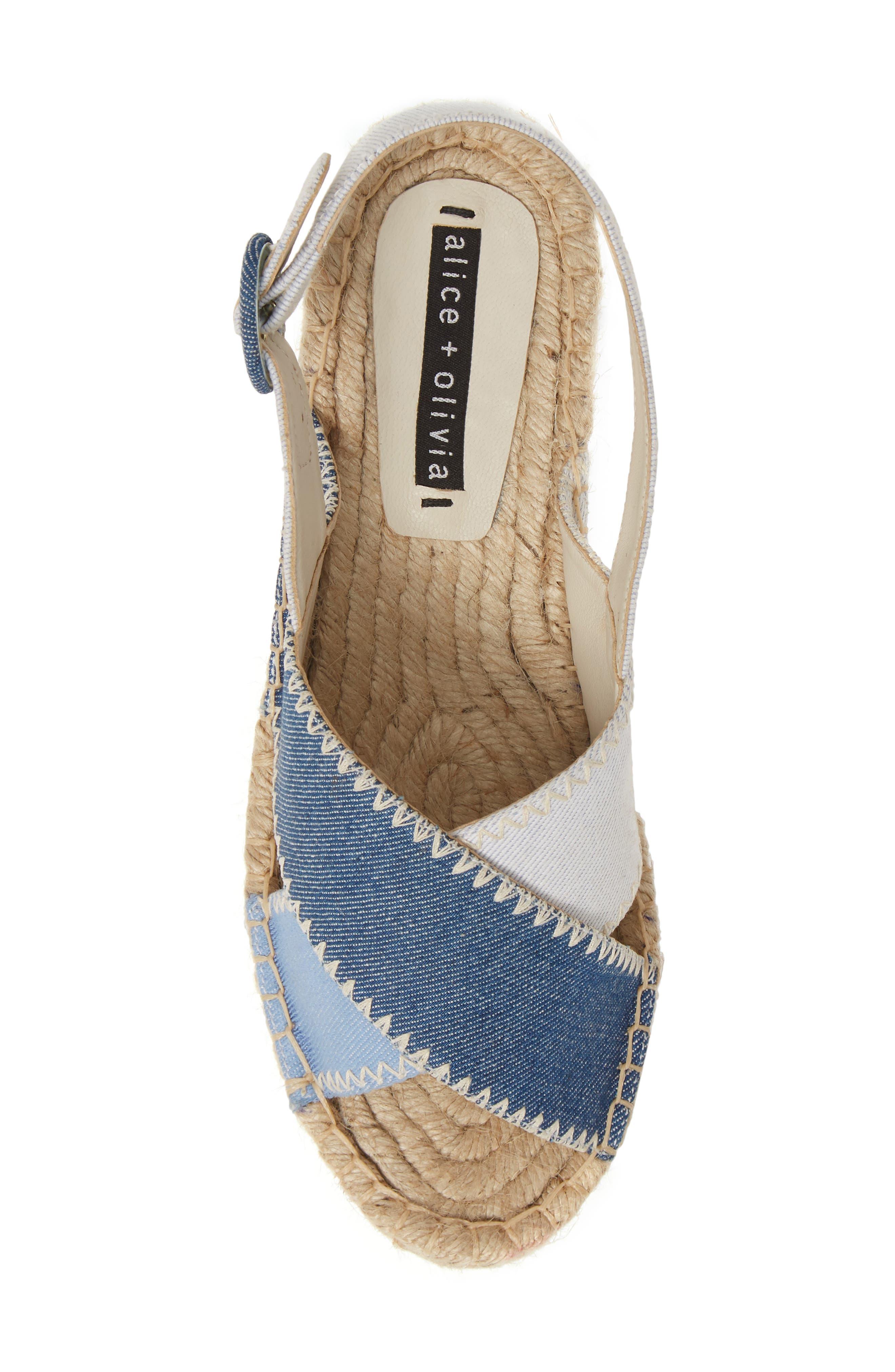 ALICE + OLIVIA, Fayen Platform Sandal, Alternate thumbnail 5, color, DARK BLUE/ LIGHT BLUE/ IVORY