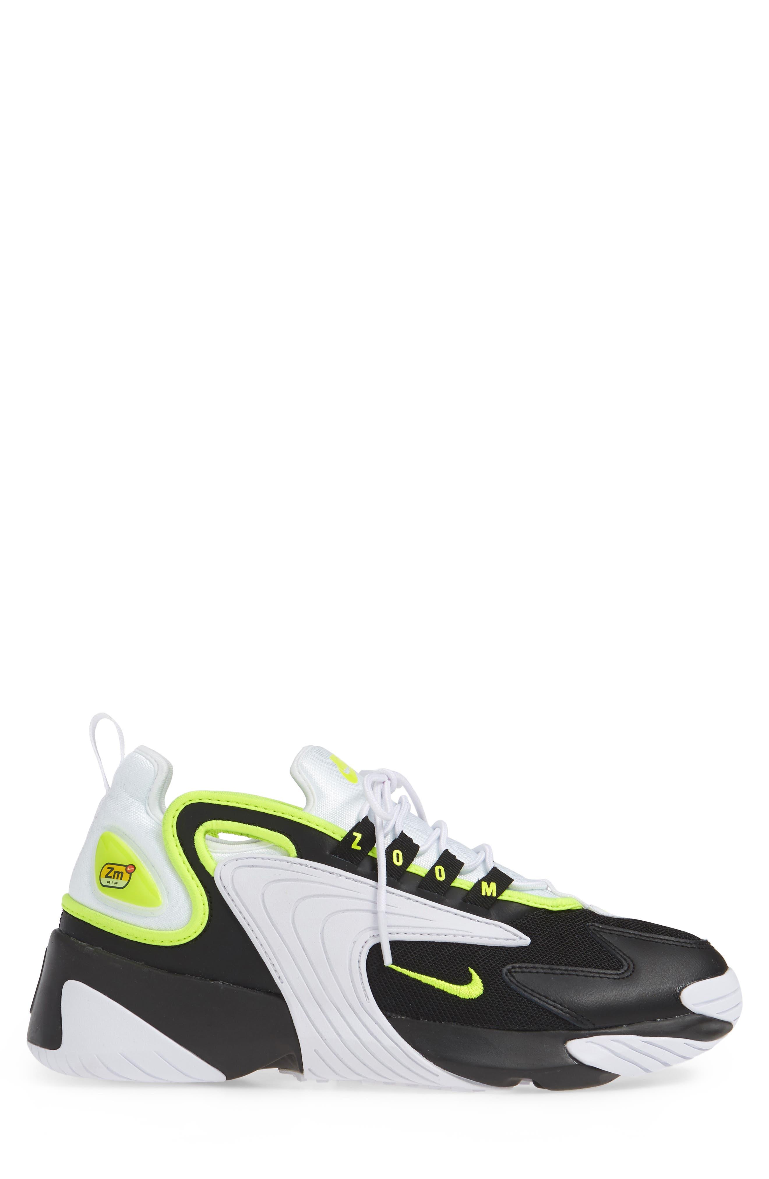 NIKE, Zoom 2K Sneaker, Alternate thumbnail 3, color, BLACK/ VOLT/ WHITE