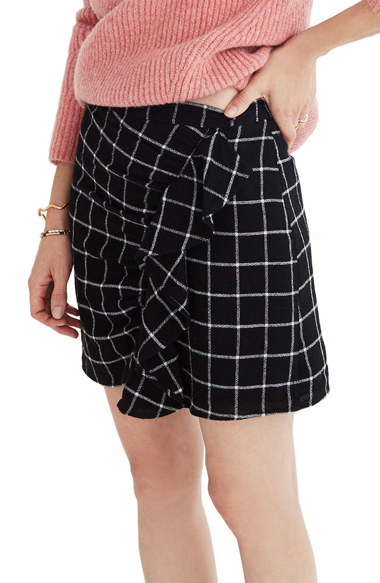 MADEWELL Windowpane Ruffle Front Miniskirt, Main, color, 009