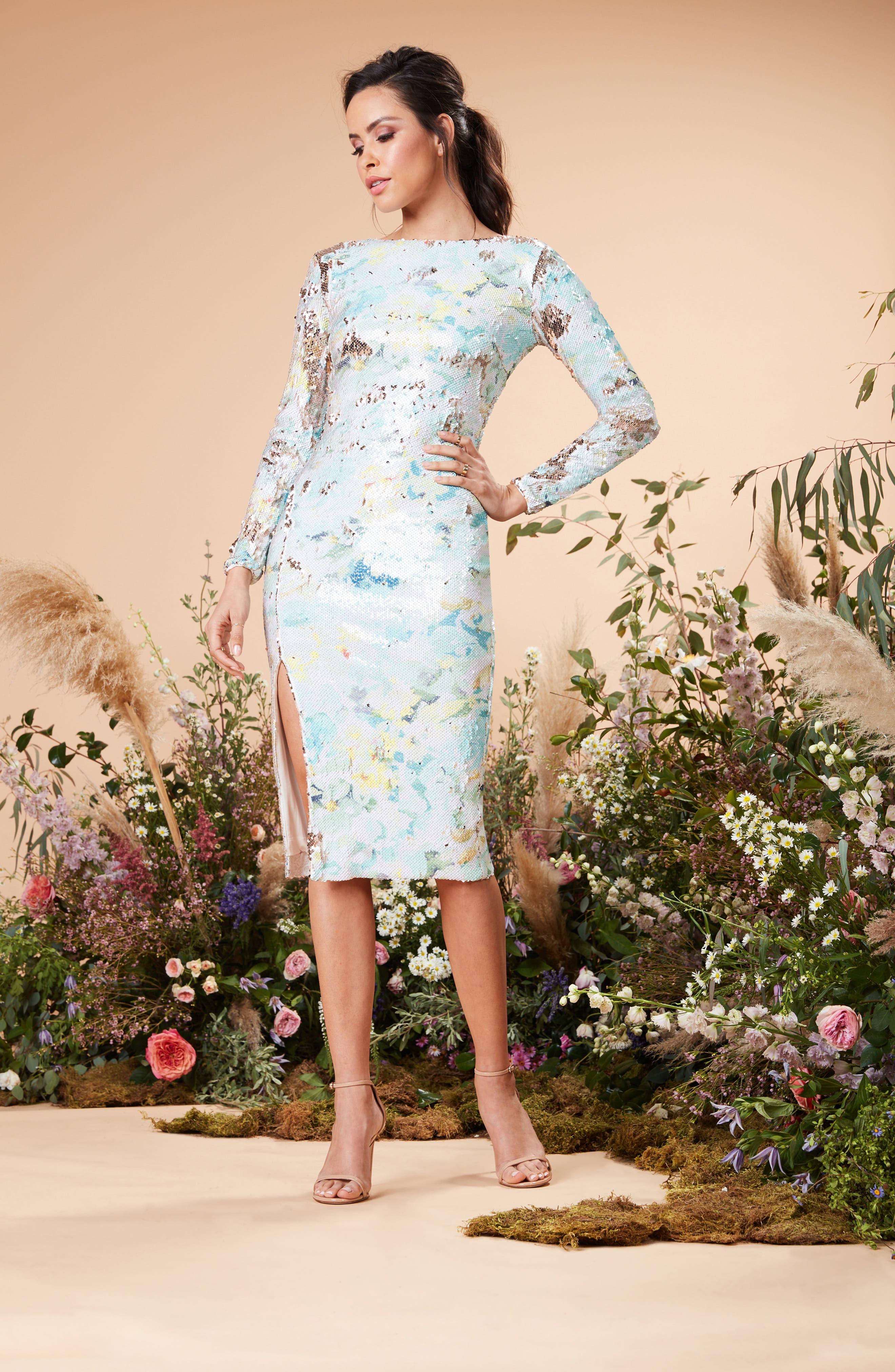 DRESS THE POPULATION, Natalie Scoop Back Sequin Dress, Alternate thumbnail 10, color, IVORY/ SAGE/ GOLD