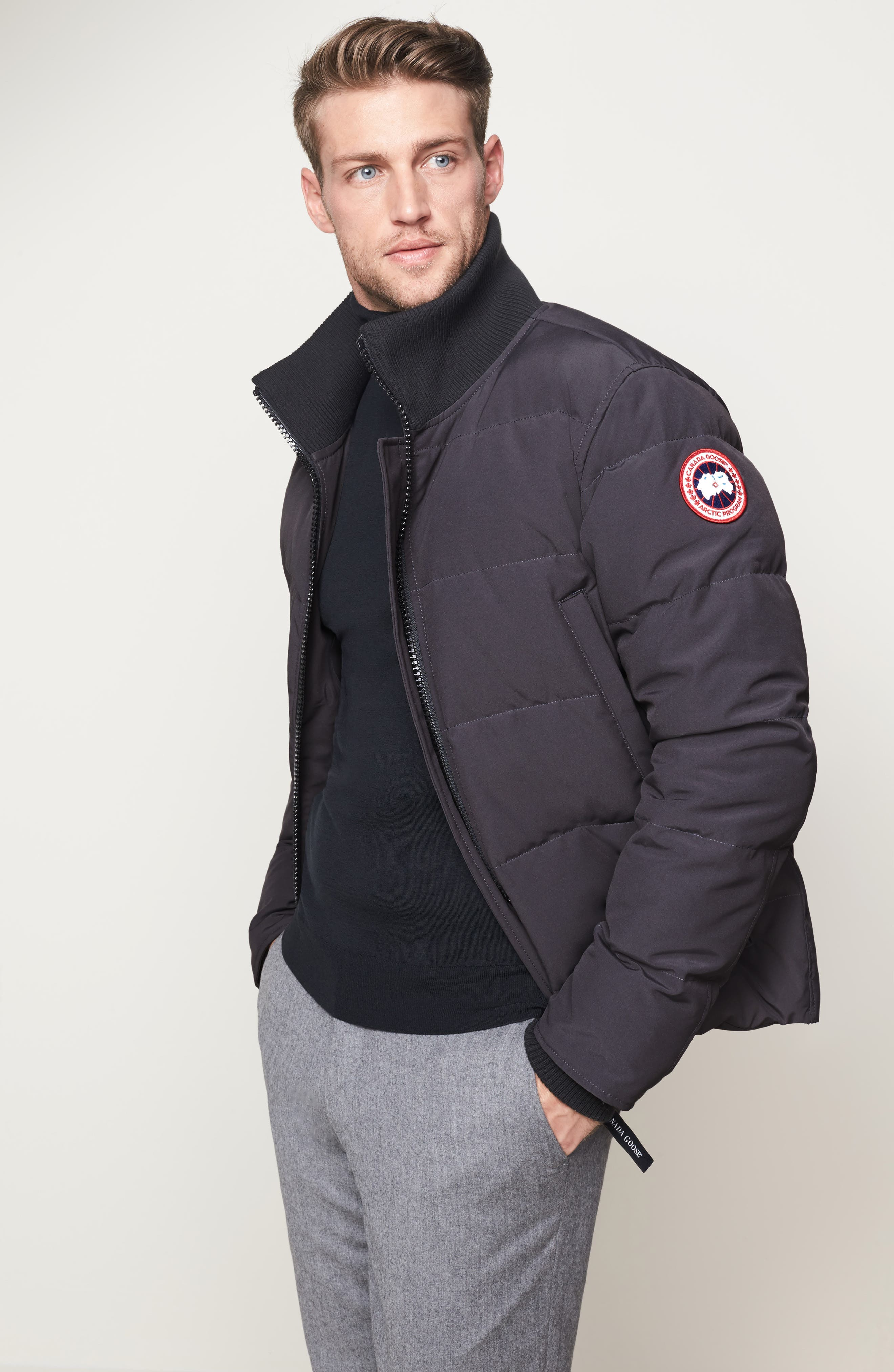 CANADA GOOSE, 'Woolford' Slim Fit Down Bomber Jacket, Alternate thumbnail 10, color, GRAPHITE