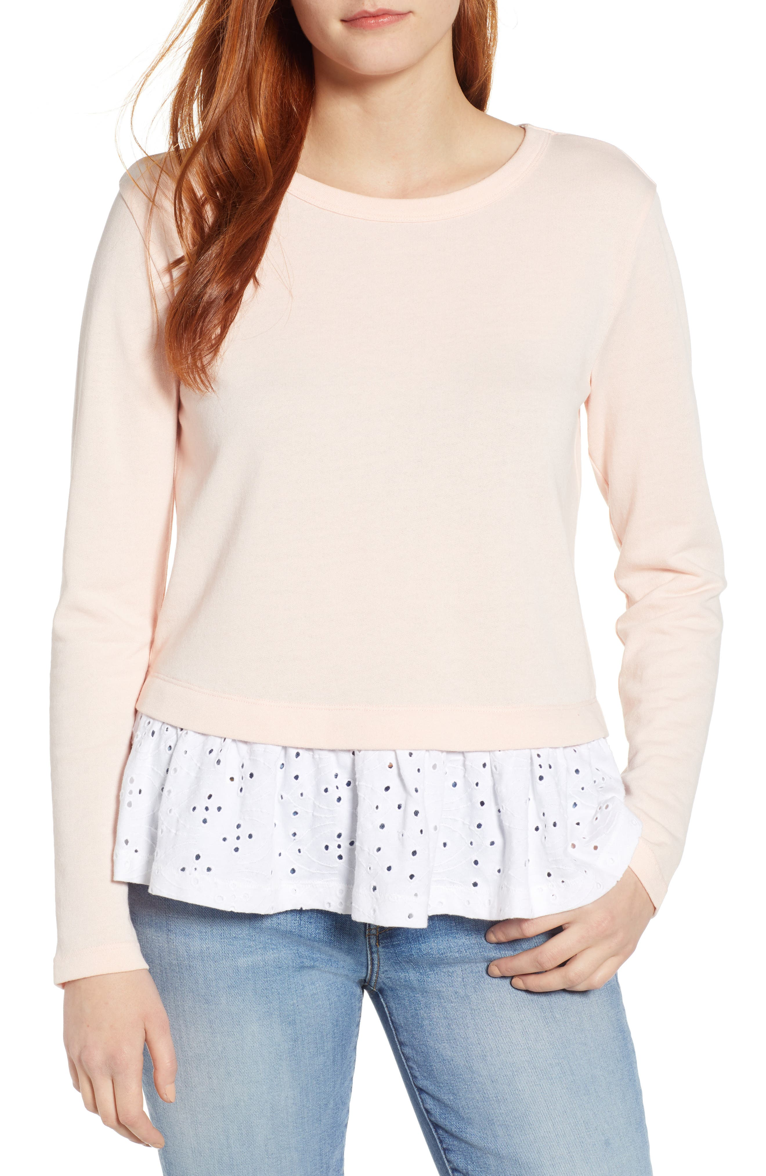 CASLON<SUP>®</SUP>, Eyelet Peplum Sweatshirt, Main thumbnail 1, color, PINK- WHITE