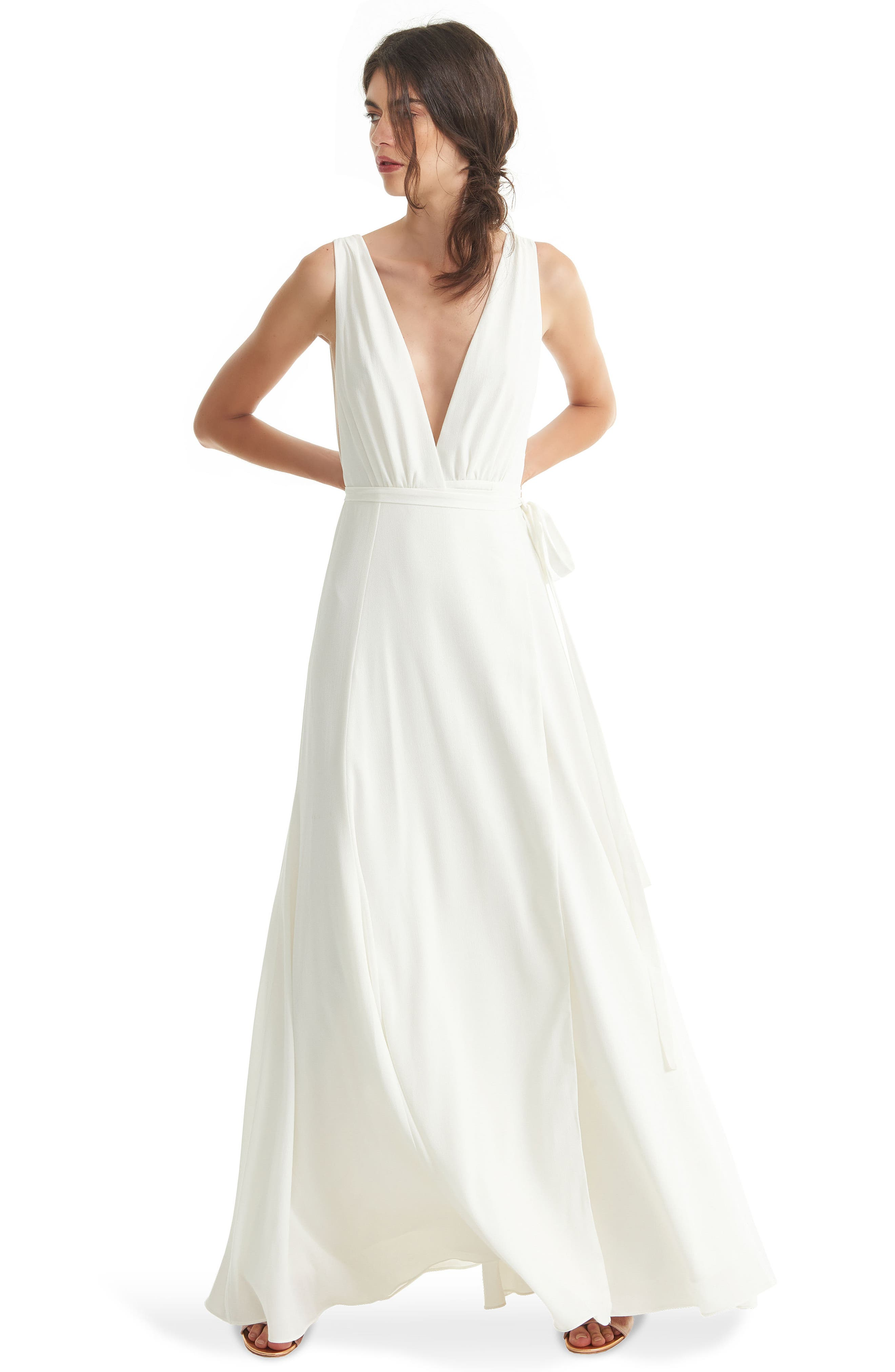 JOANNA AUGUST, Jagger Plunging Wrap Dress, Alternate thumbnail 6, color, WHITE