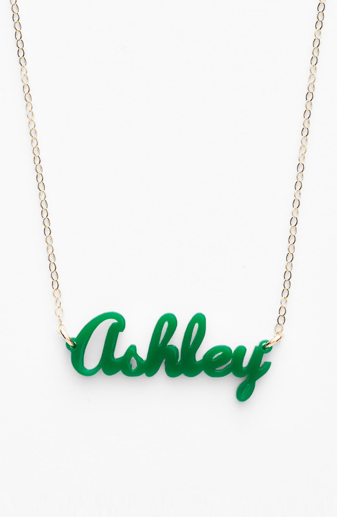 MOON AND LOLA, 'Script Font' Personalized Nameplate Pendant Necklace, Main thumbnail 1, color, EMERALD/ GOLD