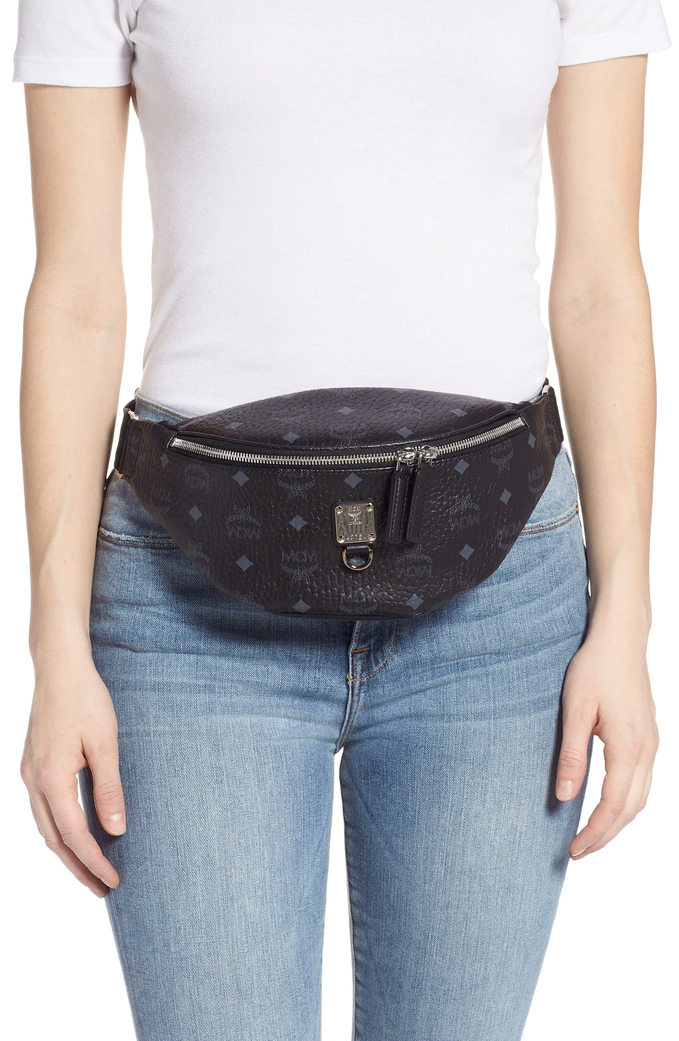 MCM, Fursten Visetos Small Belt Bag, Alternate thumbnail 2, color, BLACK