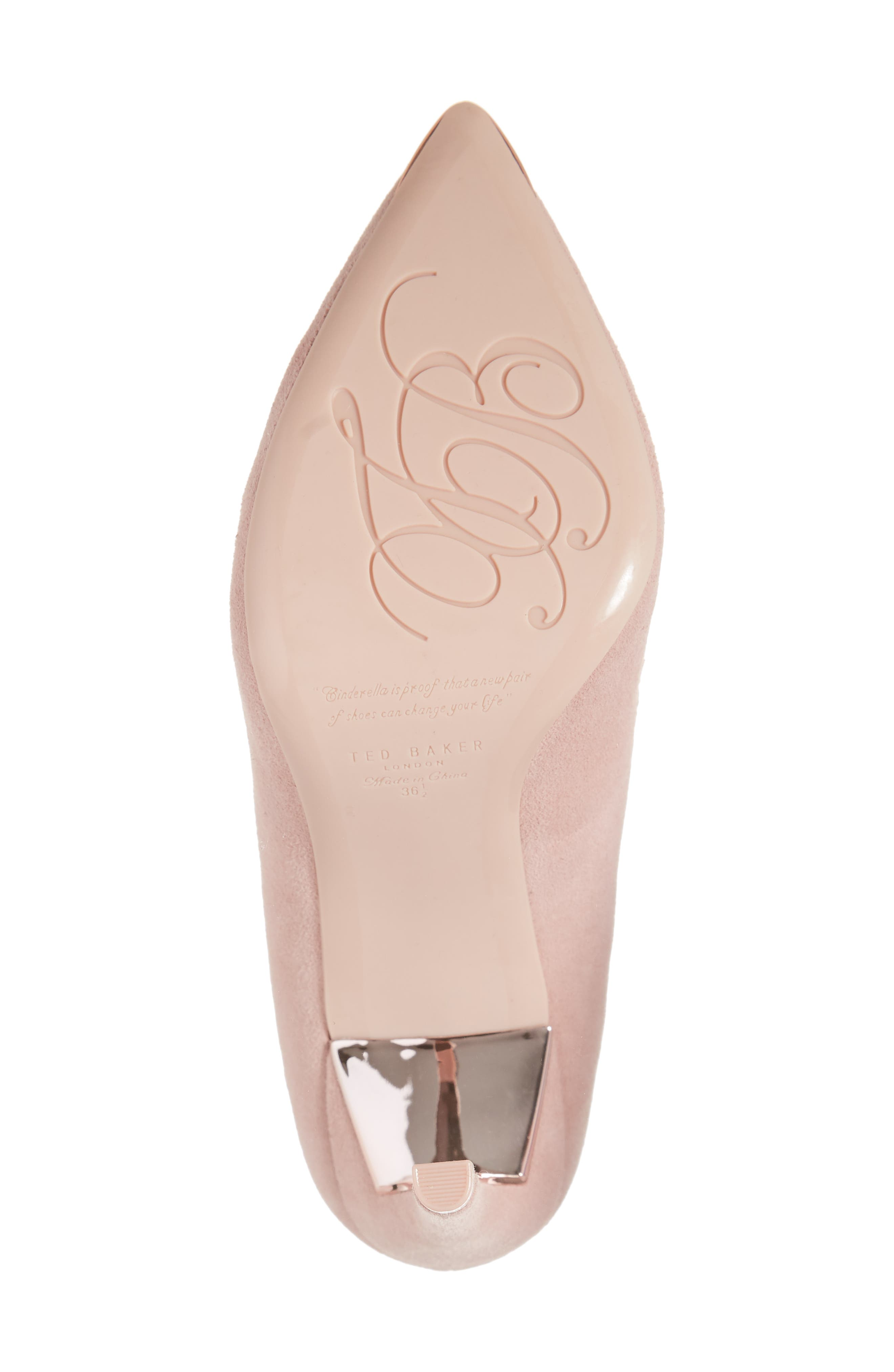 TED BAKER LONDON, Sloana Pointy Toe Pump, Alternate thumbnail 6, color, PINK BLOSSOM SUEDE