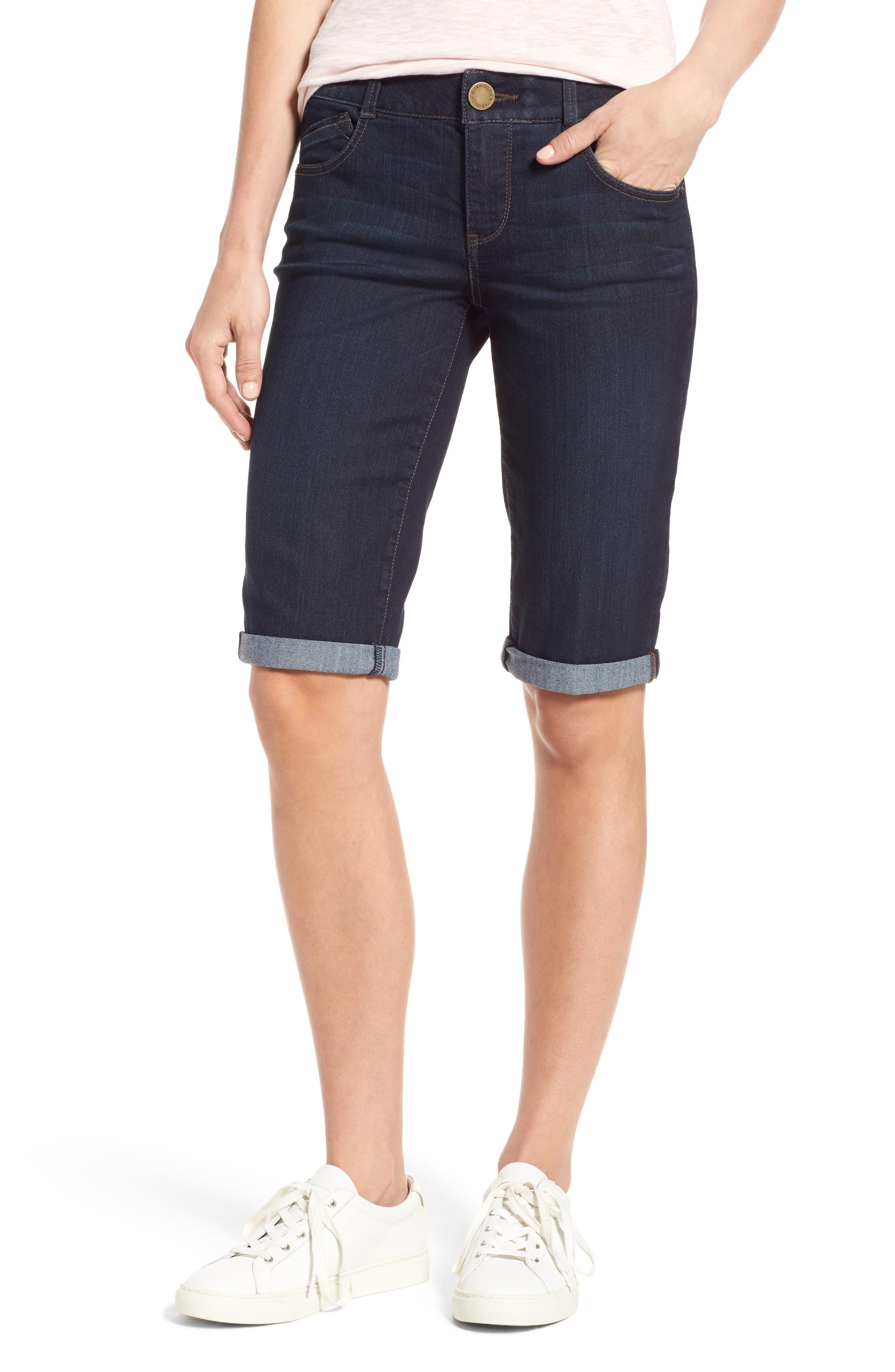 WIT & WISDOM Ab-solution Denim Bermuda Shorts, Main, color, INDIGO