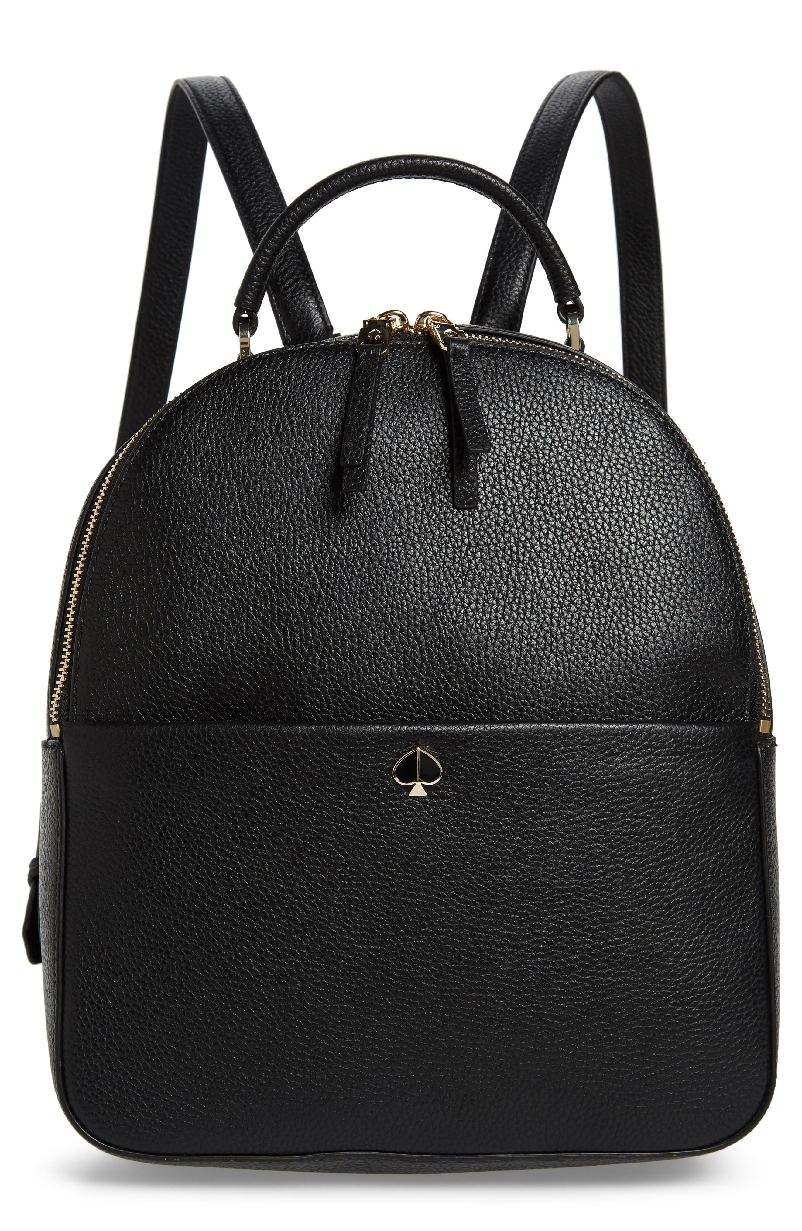 KATE SPADE NEW YORK medium polly leather backpack, Main, color, BLACK