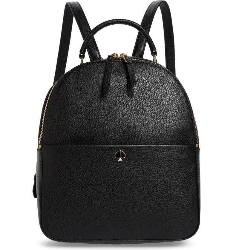 Kate Spade Medium Polly Leather Backpack - Black In Black/Gold
