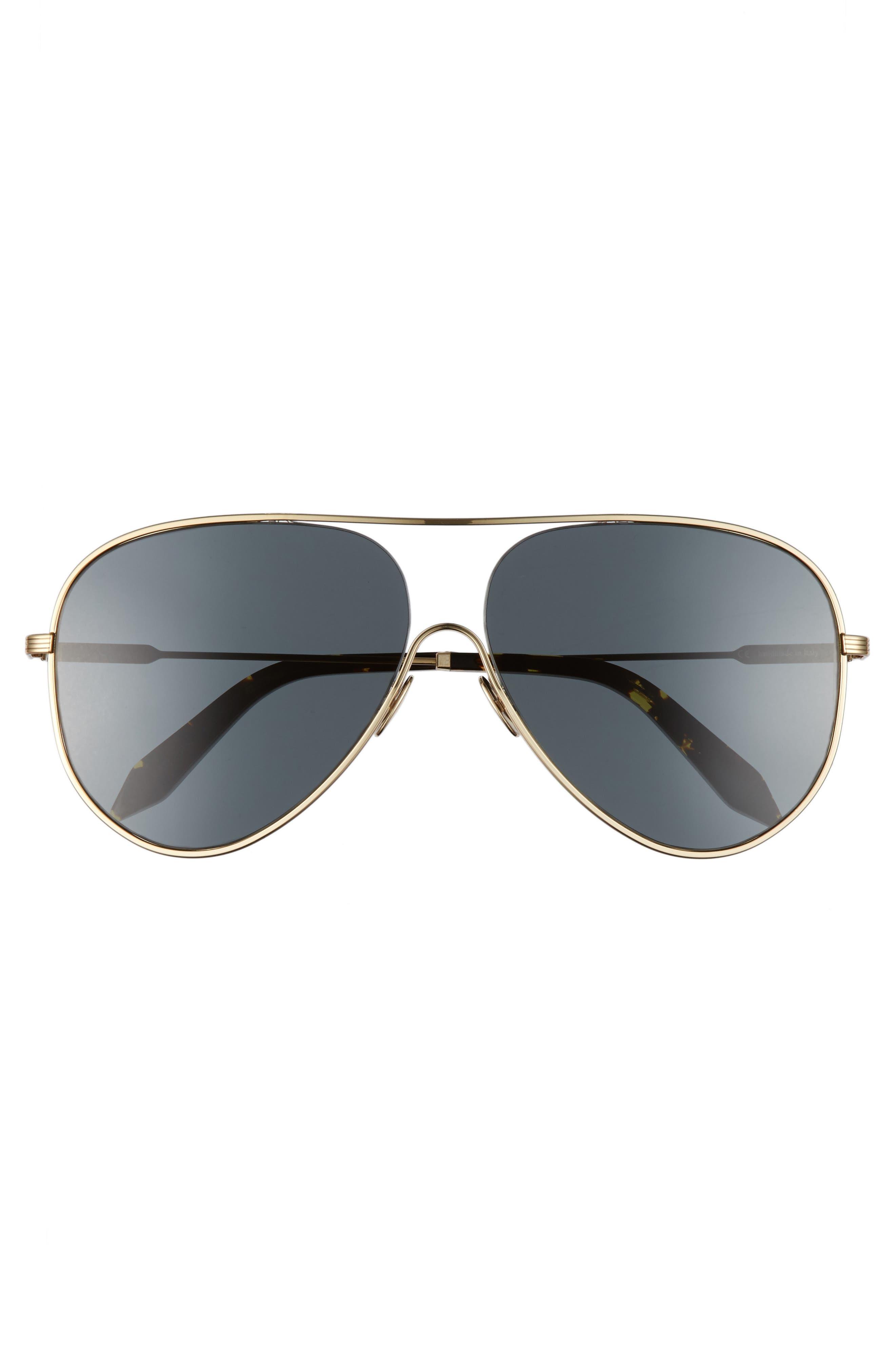 VICTORIA BECKHAM, Loop 62mm Oversize Aviator Sunglasses, Alternate thumbnail 3, color, 020