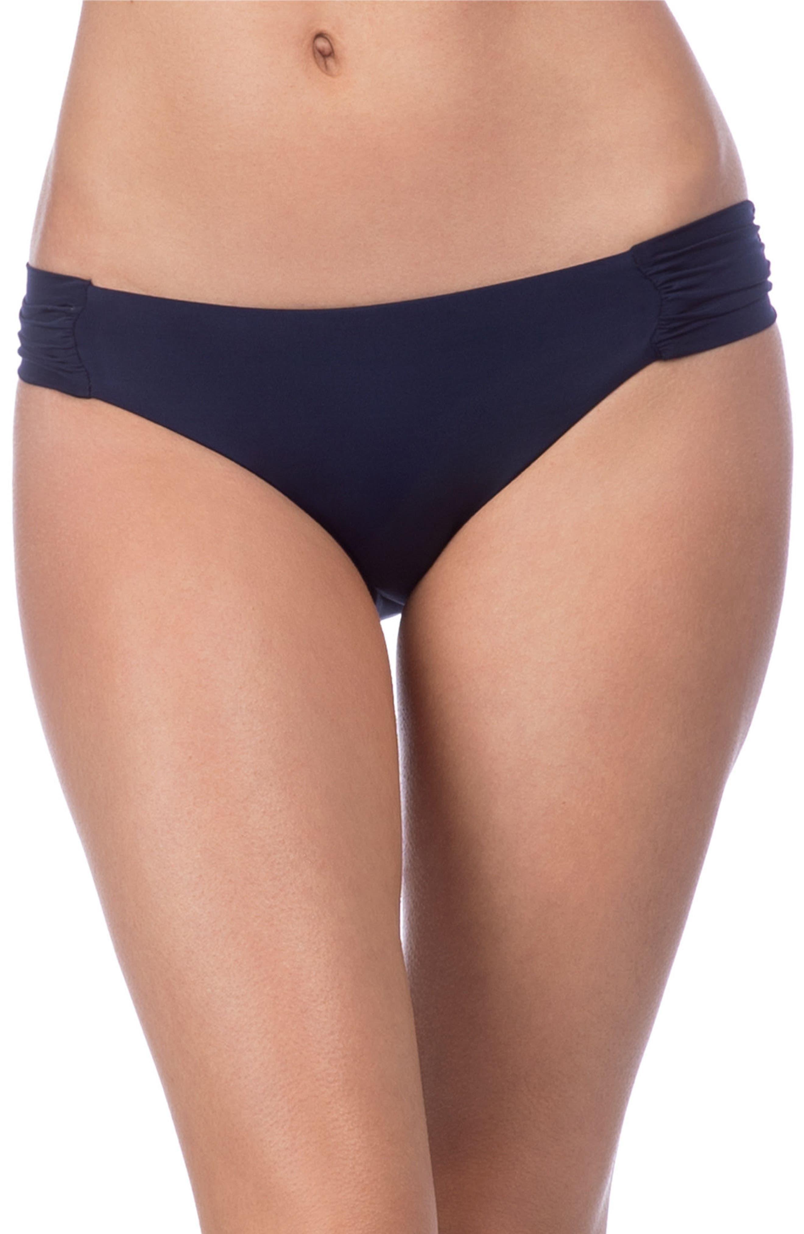 TRINA TURK, Studio Solids Shirred Tab Side Bikini Bottoms, Main thumbnail 1, color, MIDNIGHT