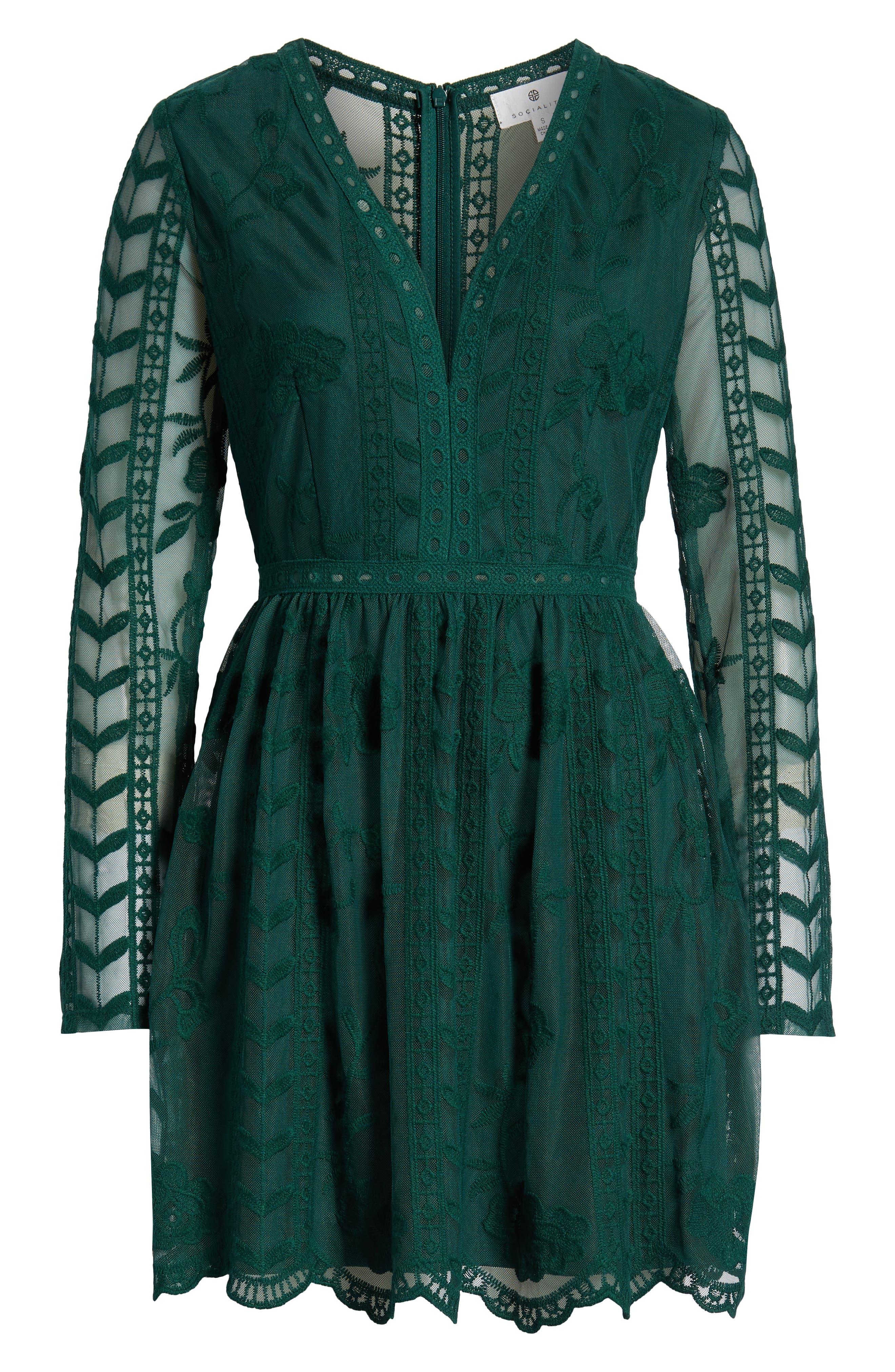 SOCIALITE, Long Sleeve V-Neck Lace Dress, Alternate thumbnail 7, color, 300