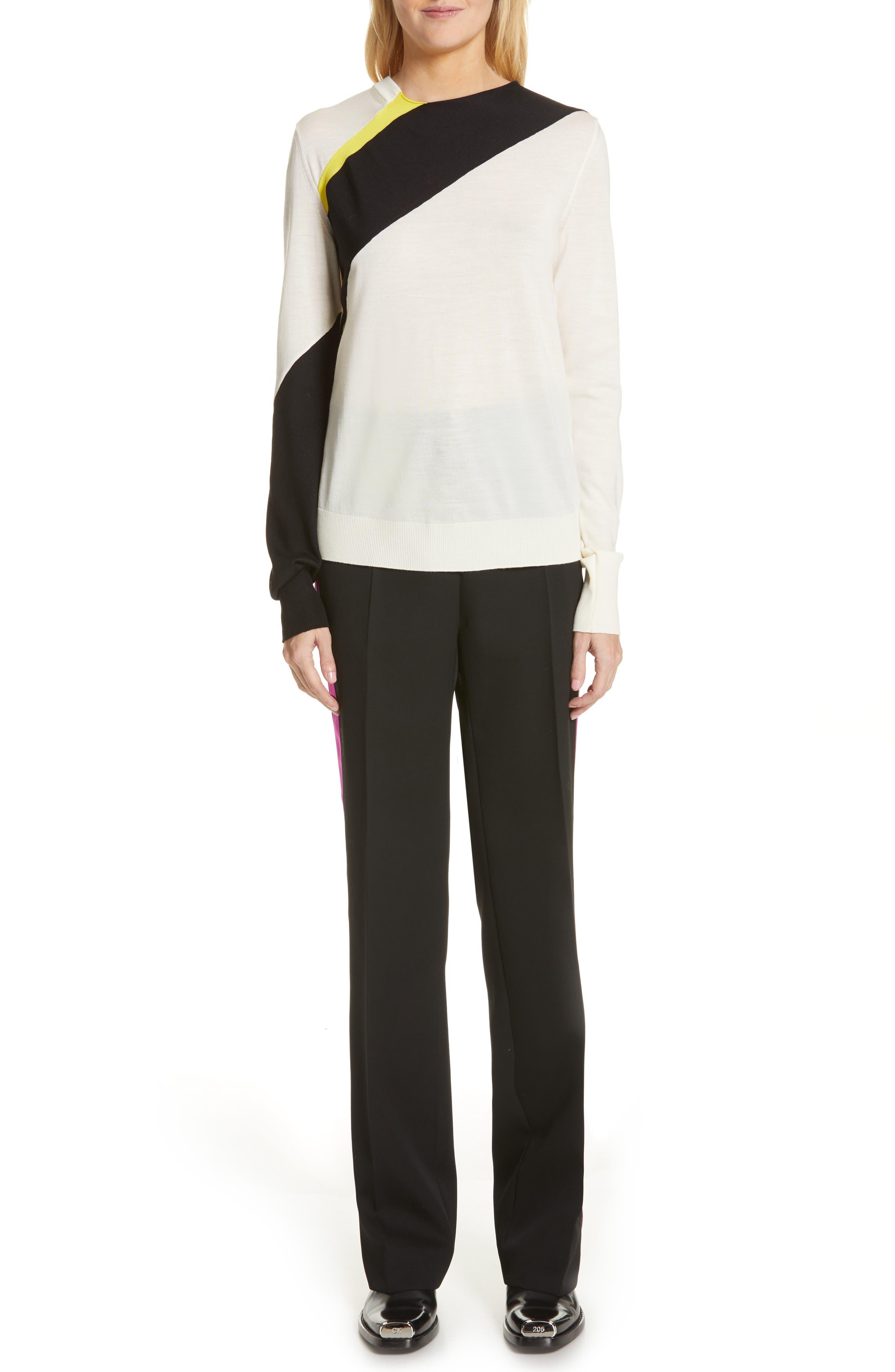 CALVIN KLEIN 205W39NYC, Contrast Stripe Wool Blend Sweater, Alternate thumbnail 8, color, WHITE BLACK TOURNESOL