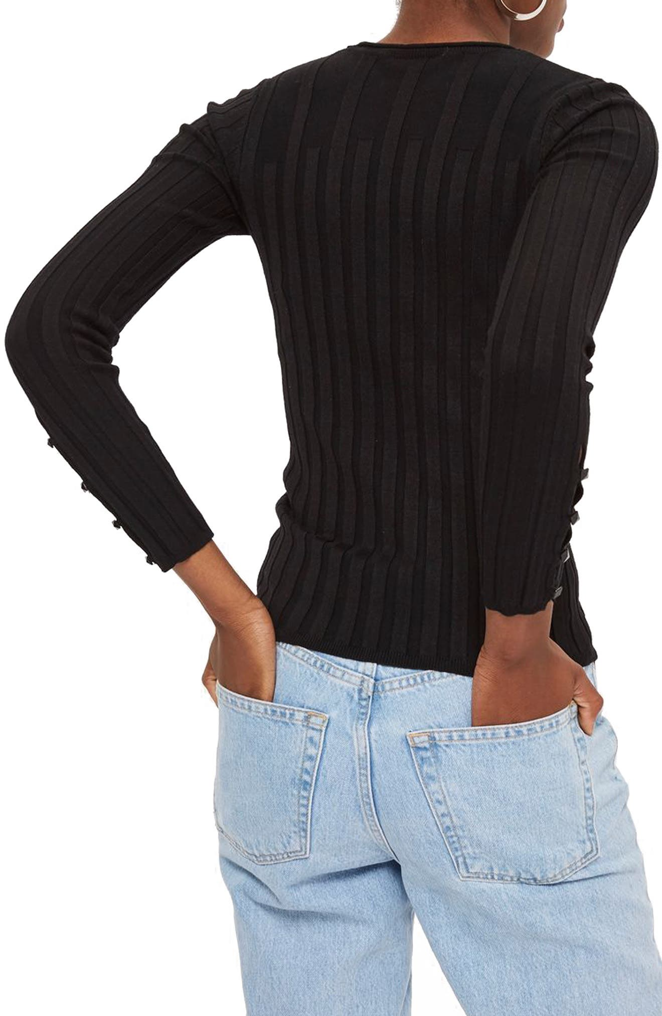 TOPSHOP, Ribbed Sweater, Alternate thumbnail 2, color, BLACK