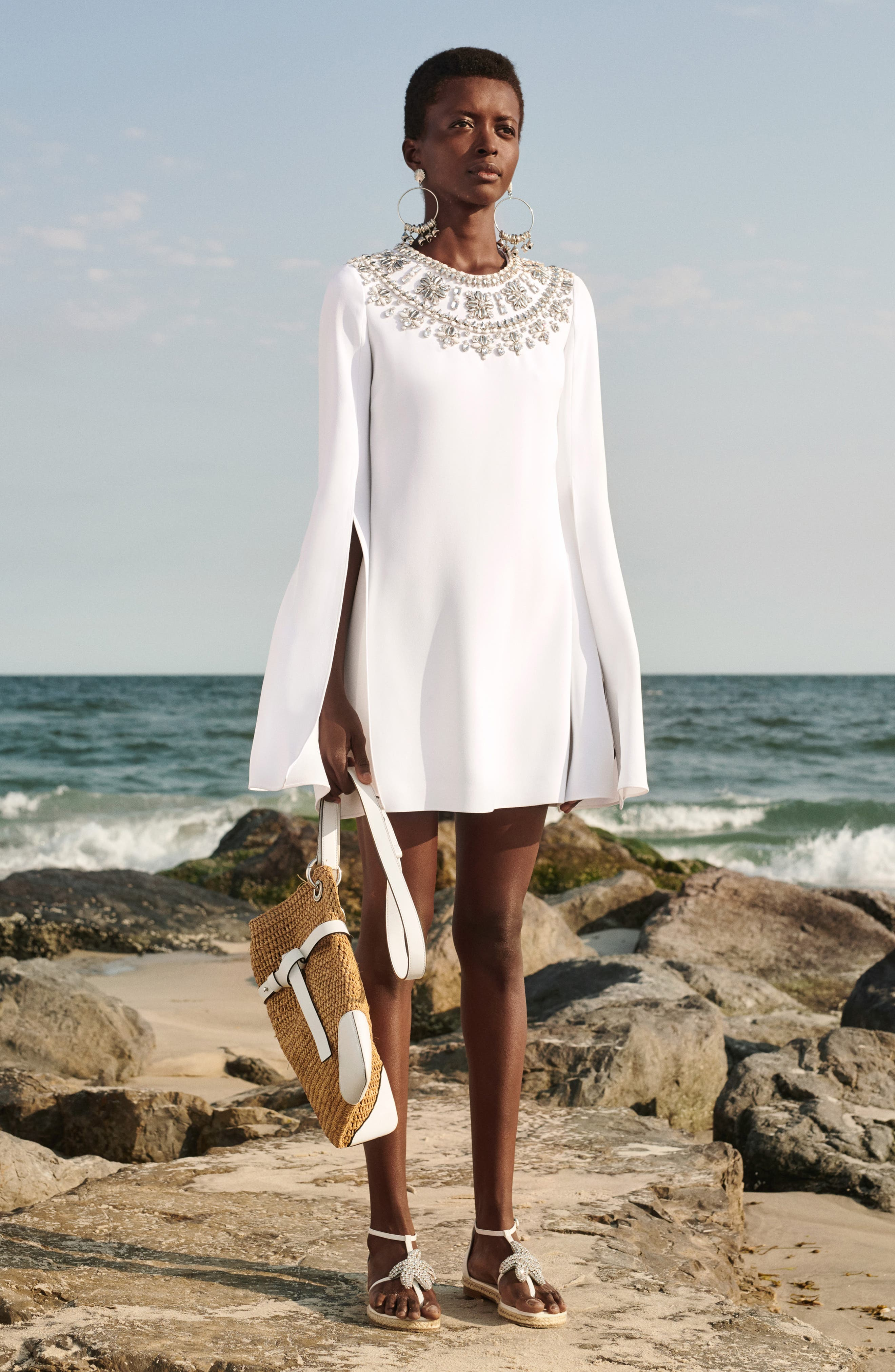 MICHAEL KORS, Crystal Embellished Split Sleeve Double Crepe Sable Dress, Alternate thumbnail 9, color, OPTIC WHITE W/ SILVER