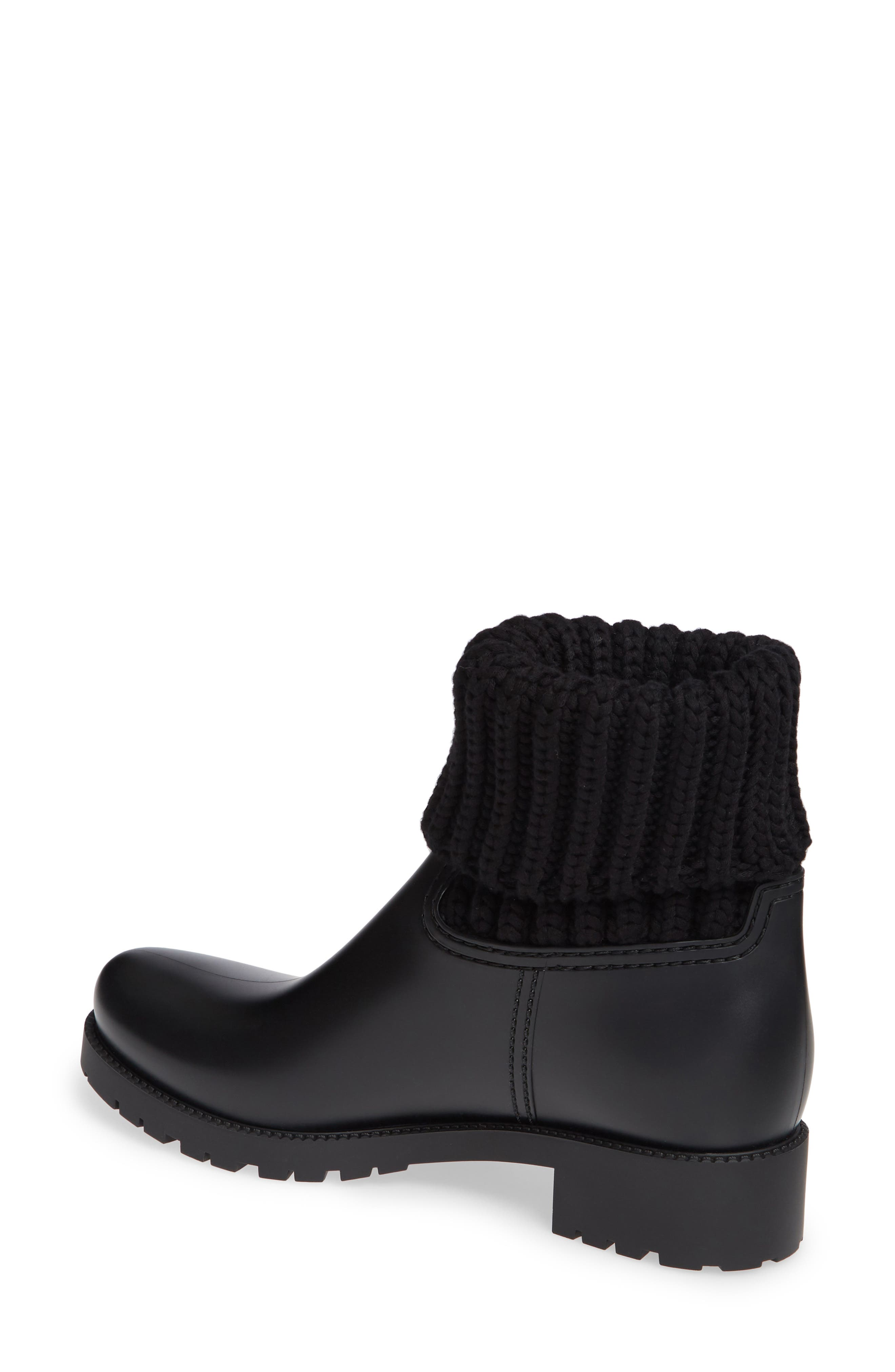 MONCLER, Ginette Stivale Knit Cuff Water Resistant Rain Boot, Alternate thumbnail 2, color, BLACK