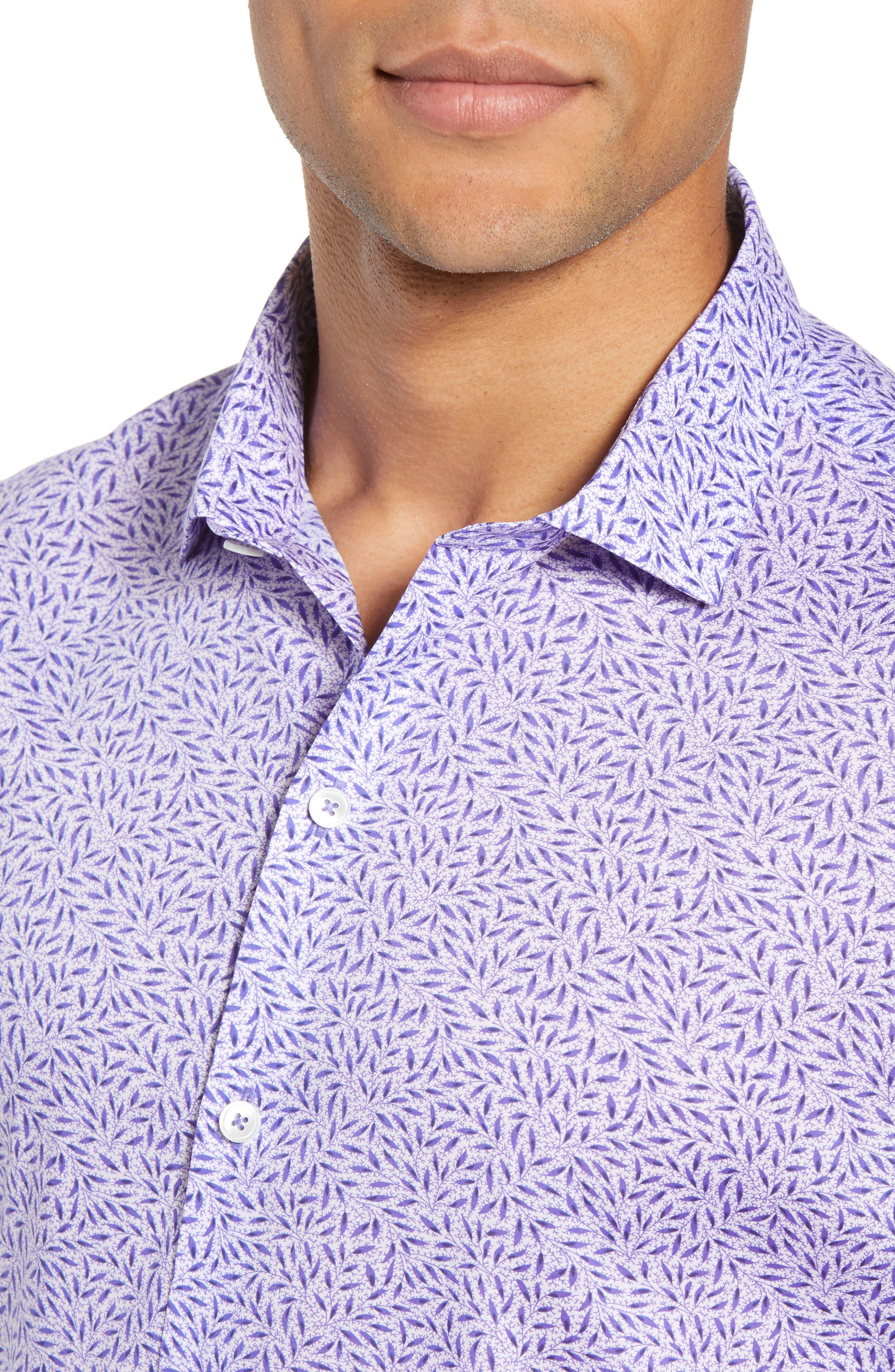 ZACHARY PRELL, Stiller Regular Fit Sport Shirt, Alternate thumbnail 4, color, PURPLE