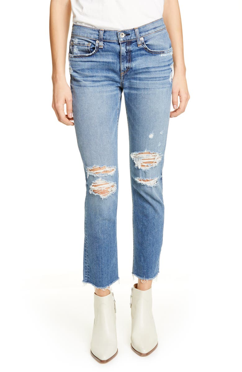 Rag & Bone Dre Low-rise Ankle Slim Boyfriend Jeans With Ripped Knees In Marie Hole
