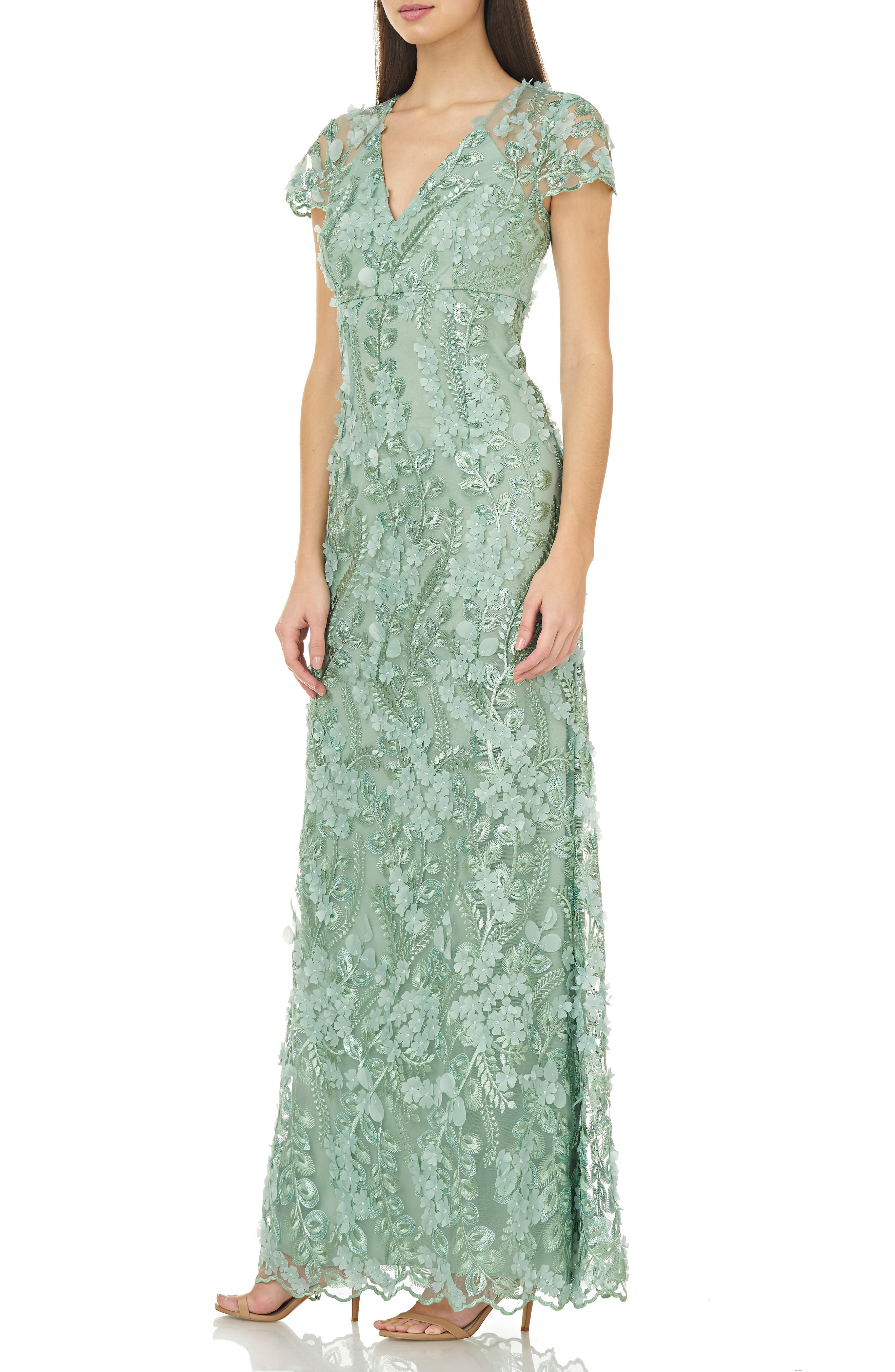 CARMEN MARC VALVO INFUSION, Petals Embellished Gown, Alternate thumbnail 4, color, CELADON