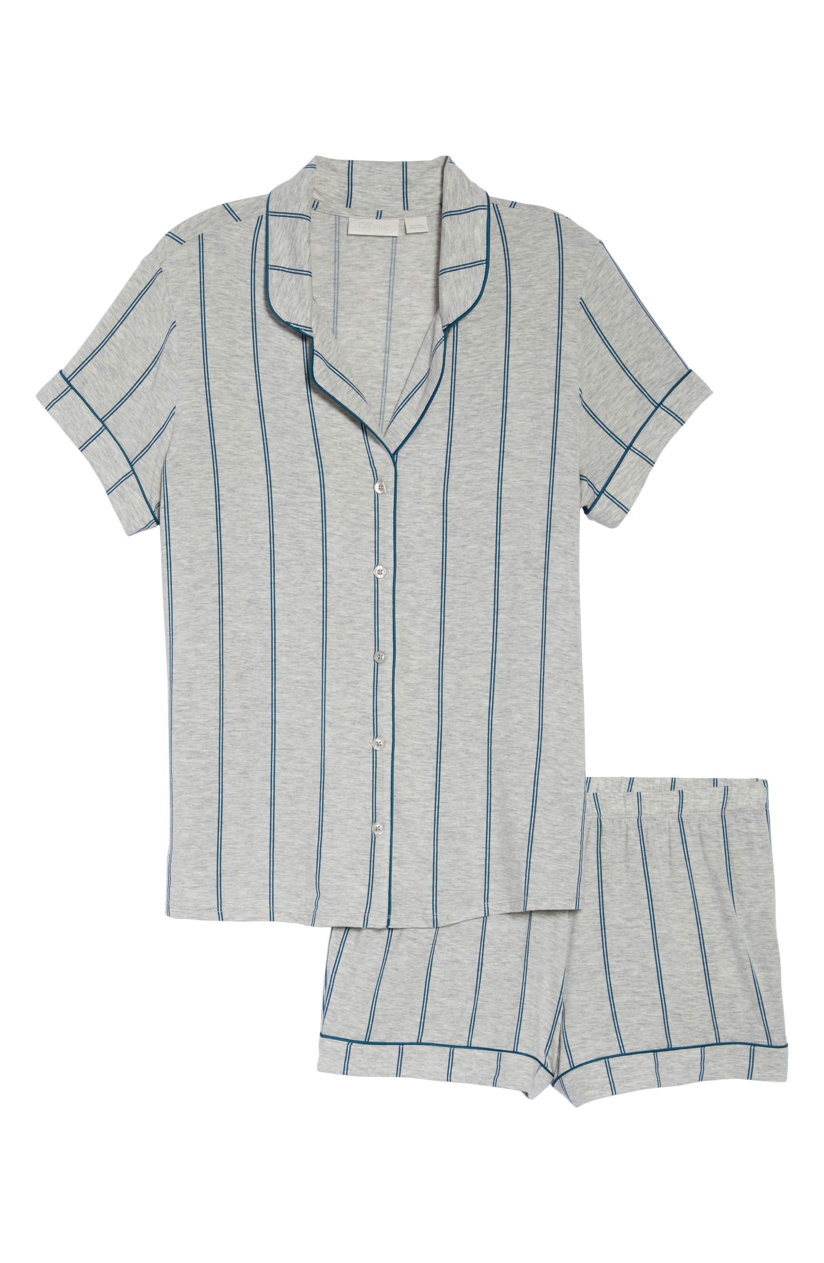 NORDSTROM LINGERIE, Moonlight Short Pajamas, Alternate thumbnail 6, color, GREY PEARL HTR MICRO STRIPE