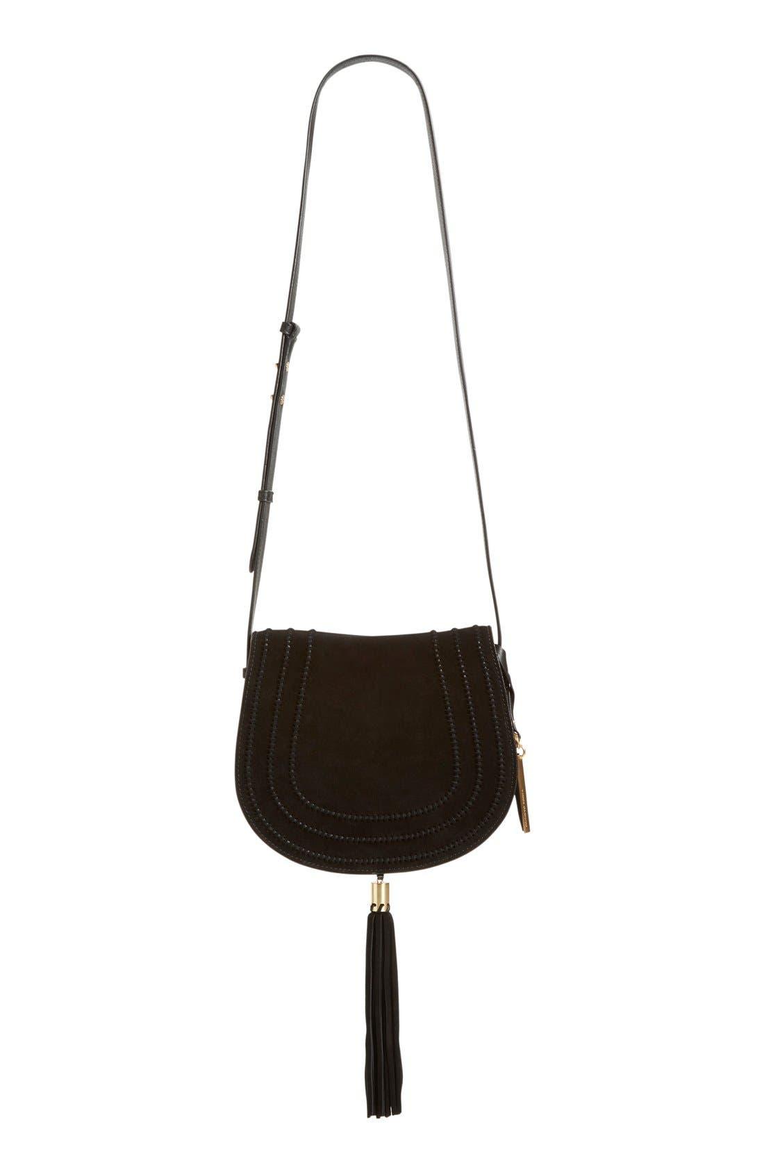 VINCE CAMUTO, 'Izzi' Tassel Leather & Suede Crossbody Bag, Alternate thumbnail 3, color, 001