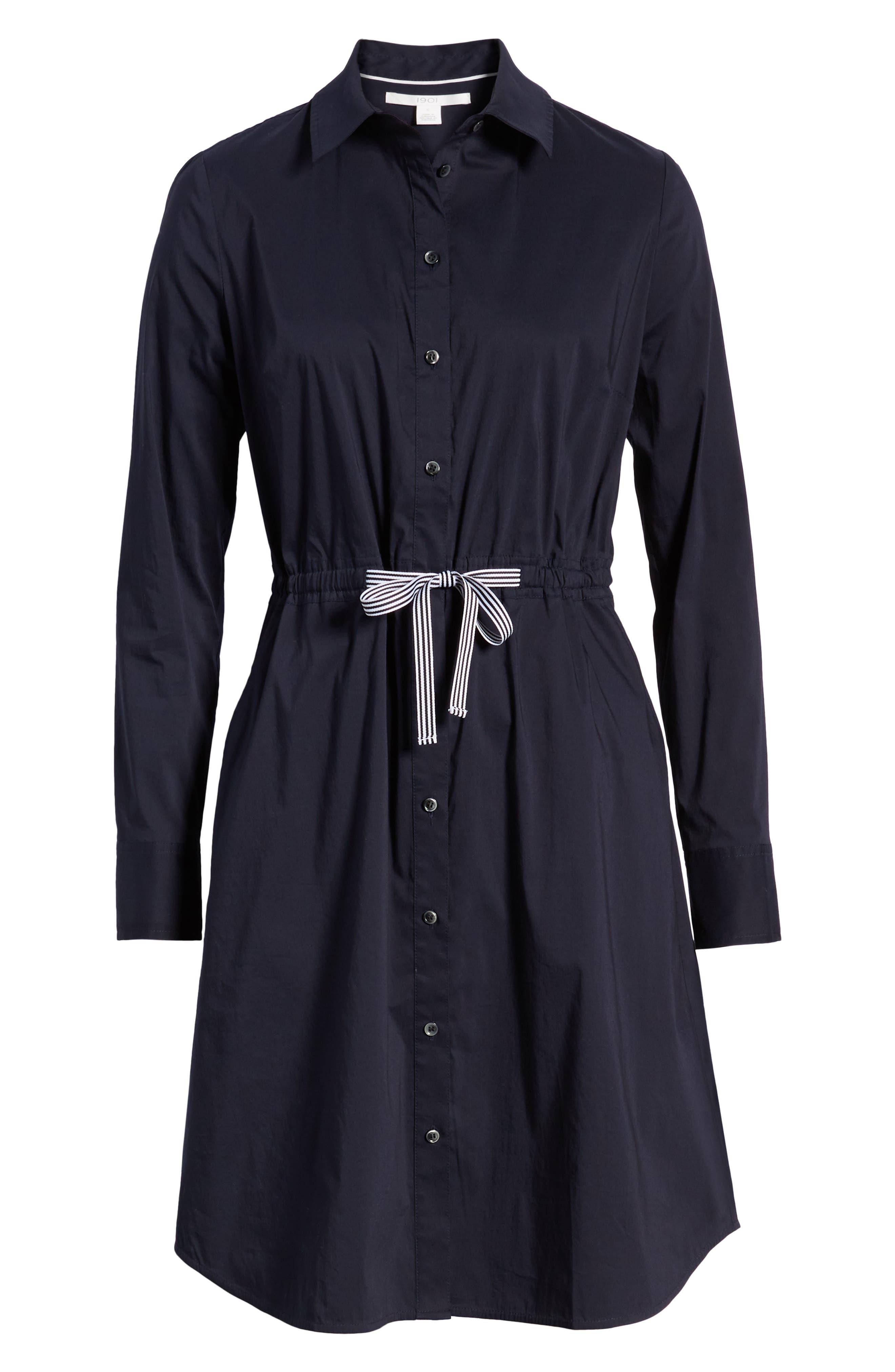 1901, Tie Waist Shirtdress, Alternate thumbnail 7, color, NAVY NIGHT