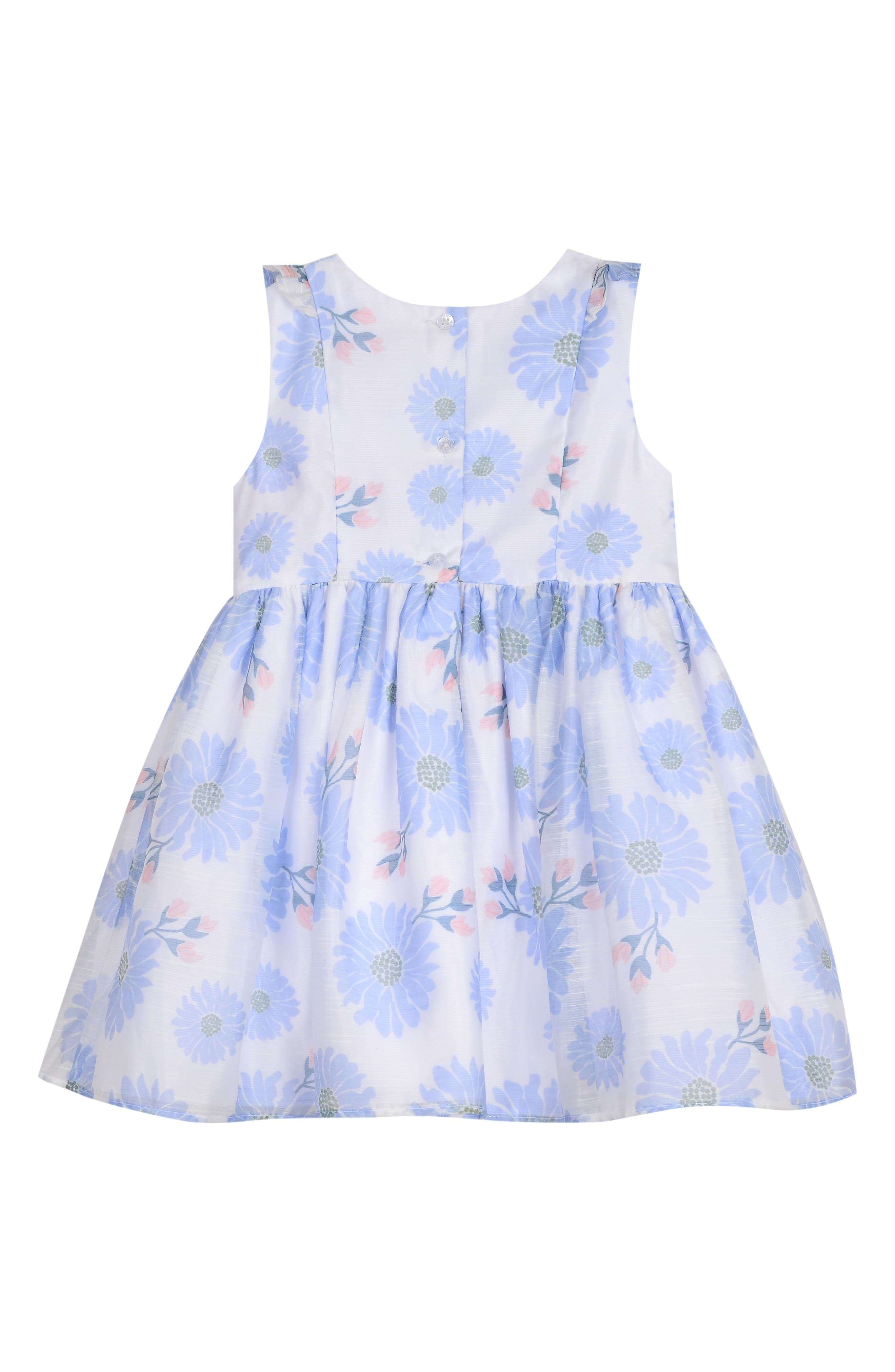 PIPPA & JULIE, Floral Bow Front Dress, Alternate thumbnail 2, color, WHITE/ BLUE