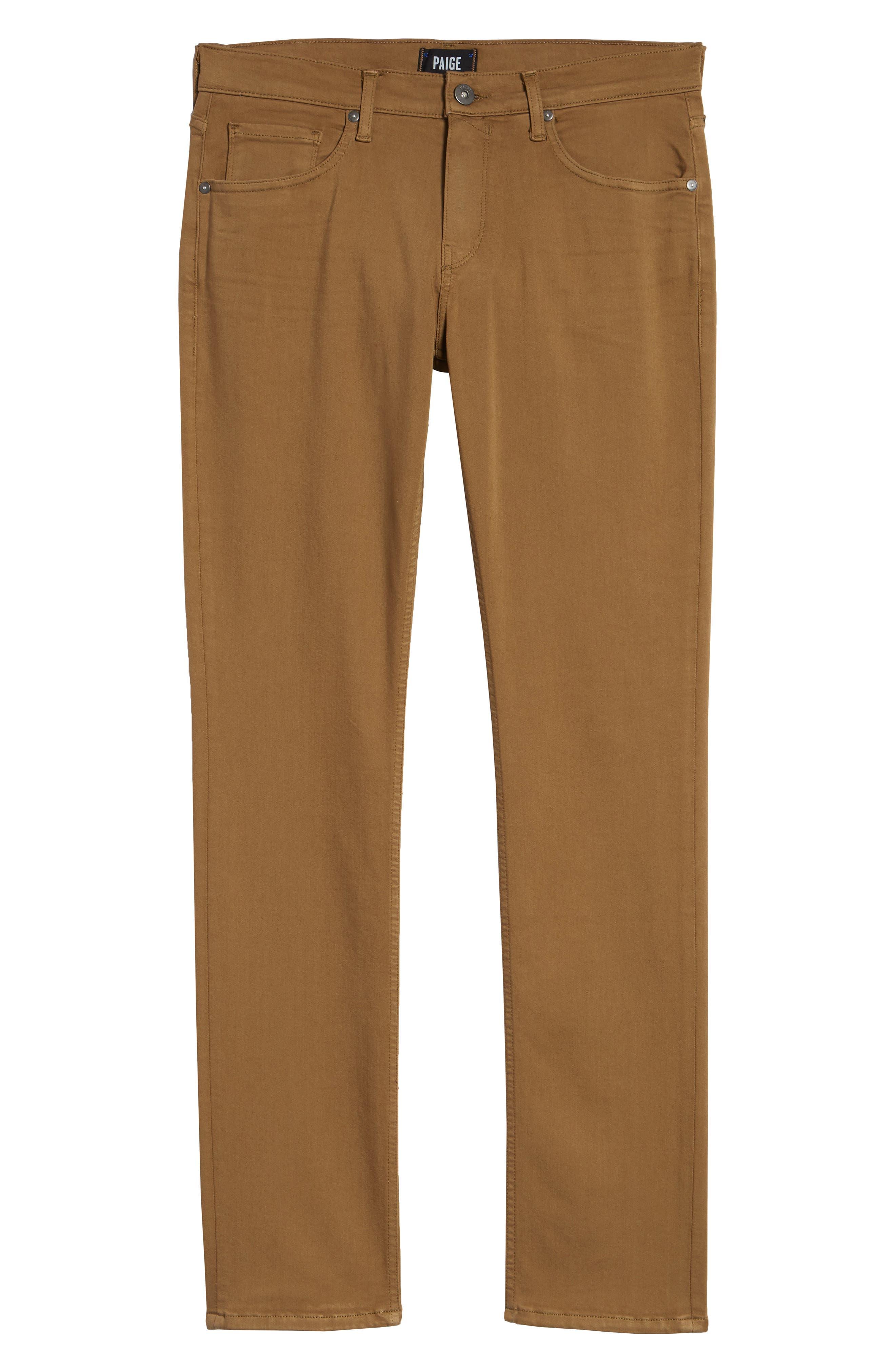 PAIGE, Transcend - Federal Slim Straight Leg Jeans, Alternate thumbnail 6, color, LAUREL TAN