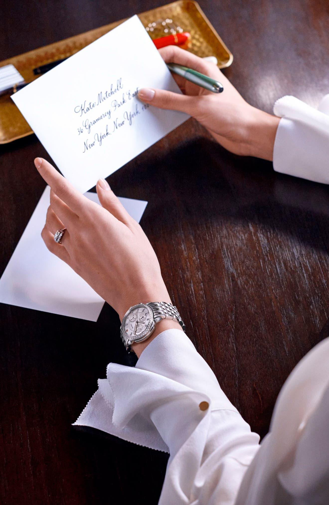 MICHELE, Sidney Chrono Diamond Diamond Dial Watch Case, 38mm, Alternate thumbnail 6, color, SILVER/ MOP