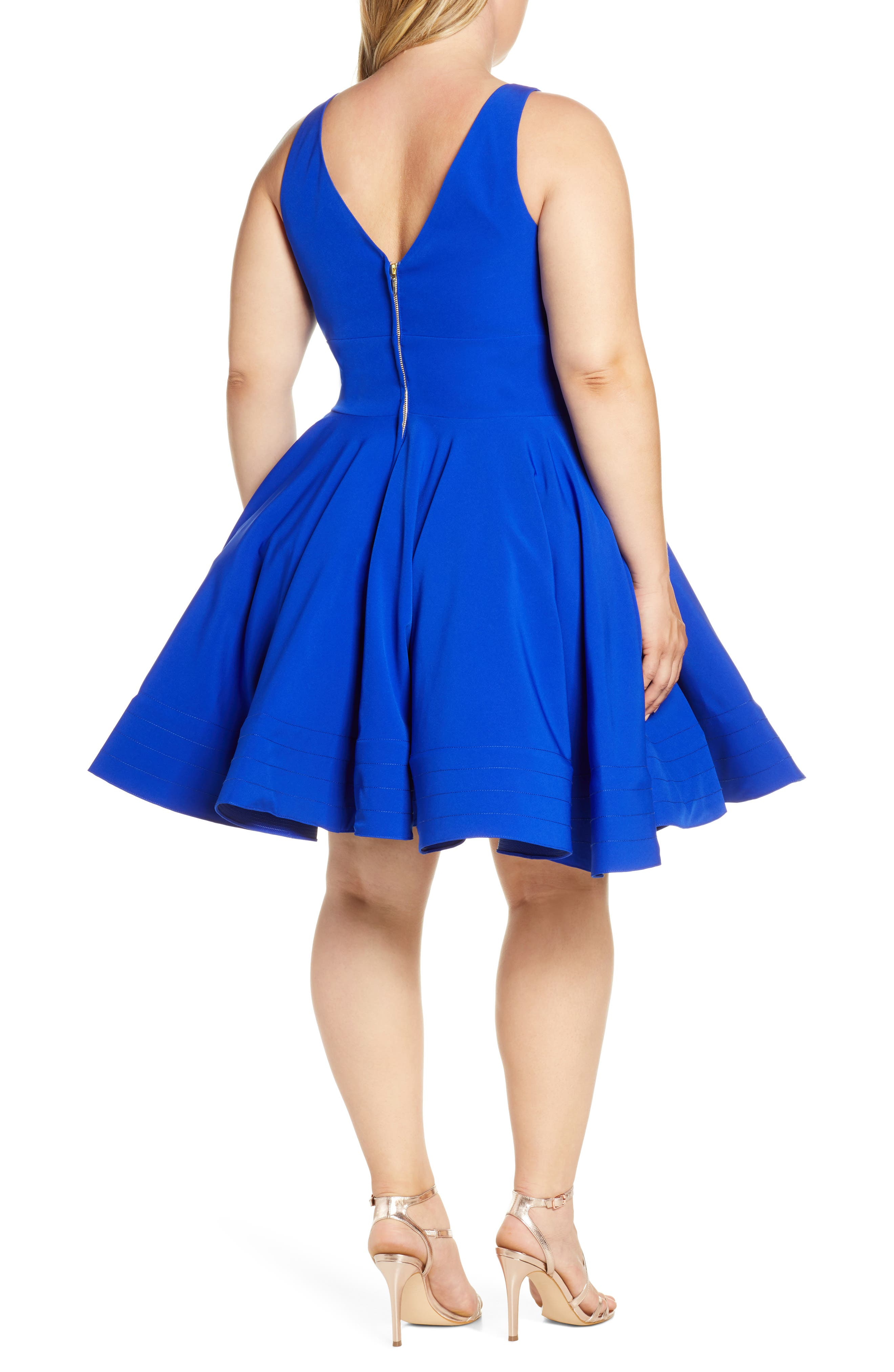 MAC DUGGAL, Fit & Flare Party Dress, Alternate thumbnail 2, color, ROYAL