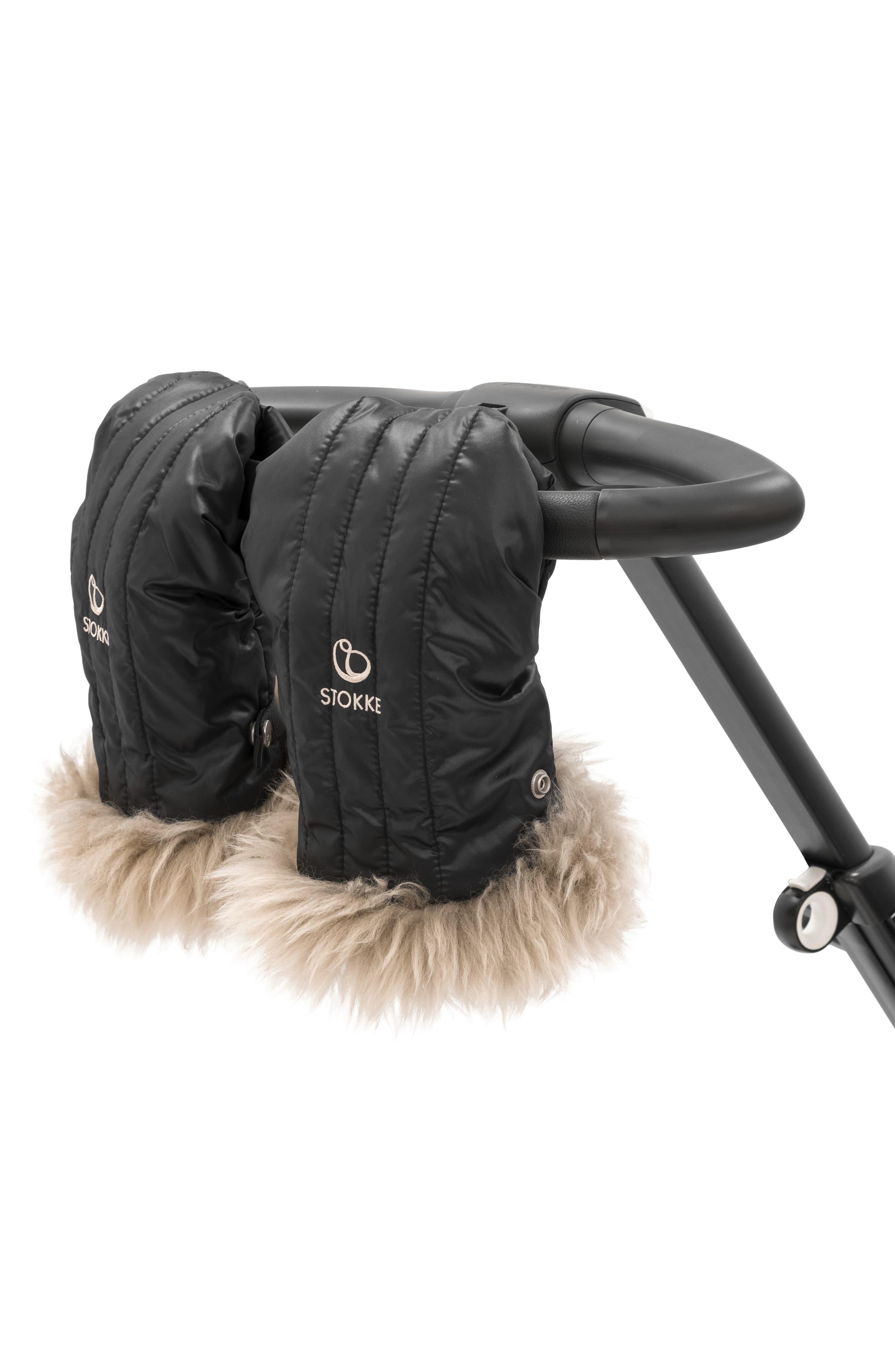 STOKKE, Stroller Genuine Shearling Mittens, Alternate thumbnail 2, color, ONYX BLACK