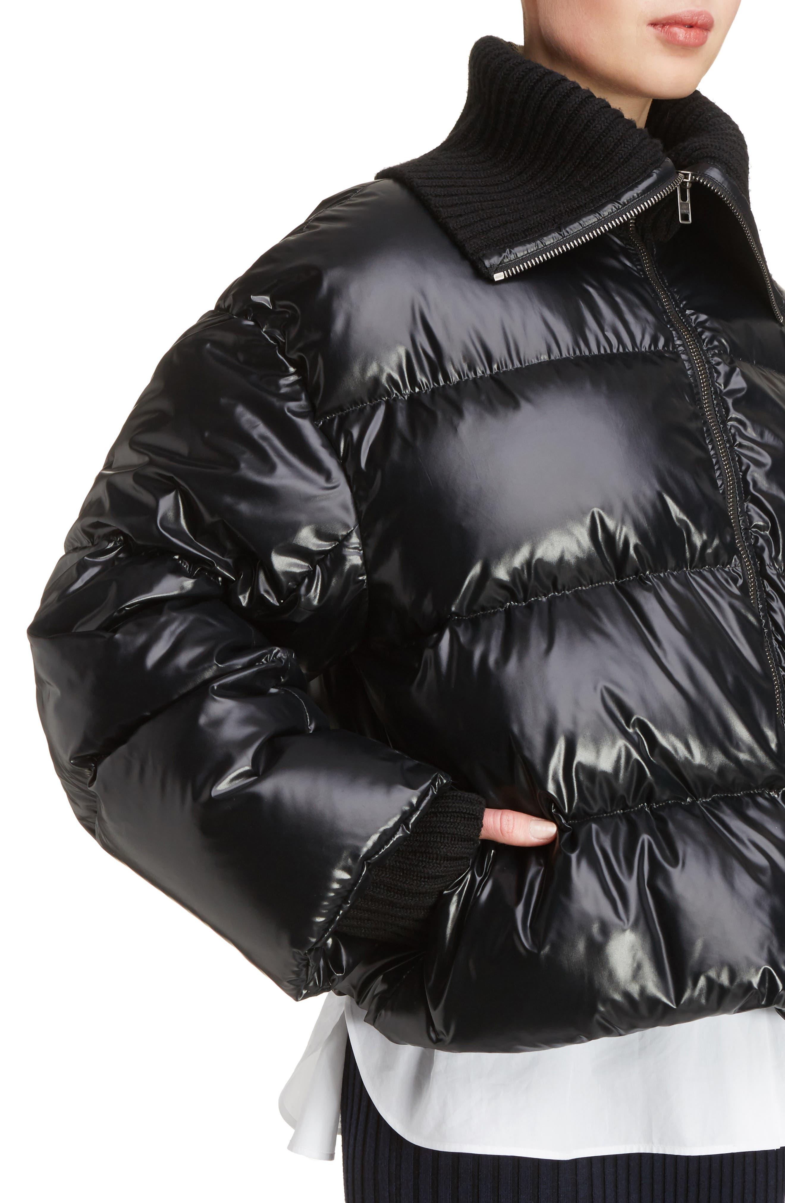 KENZO, Crop Down Puffer Jacket, Alternate thumbnail 4, color, 001