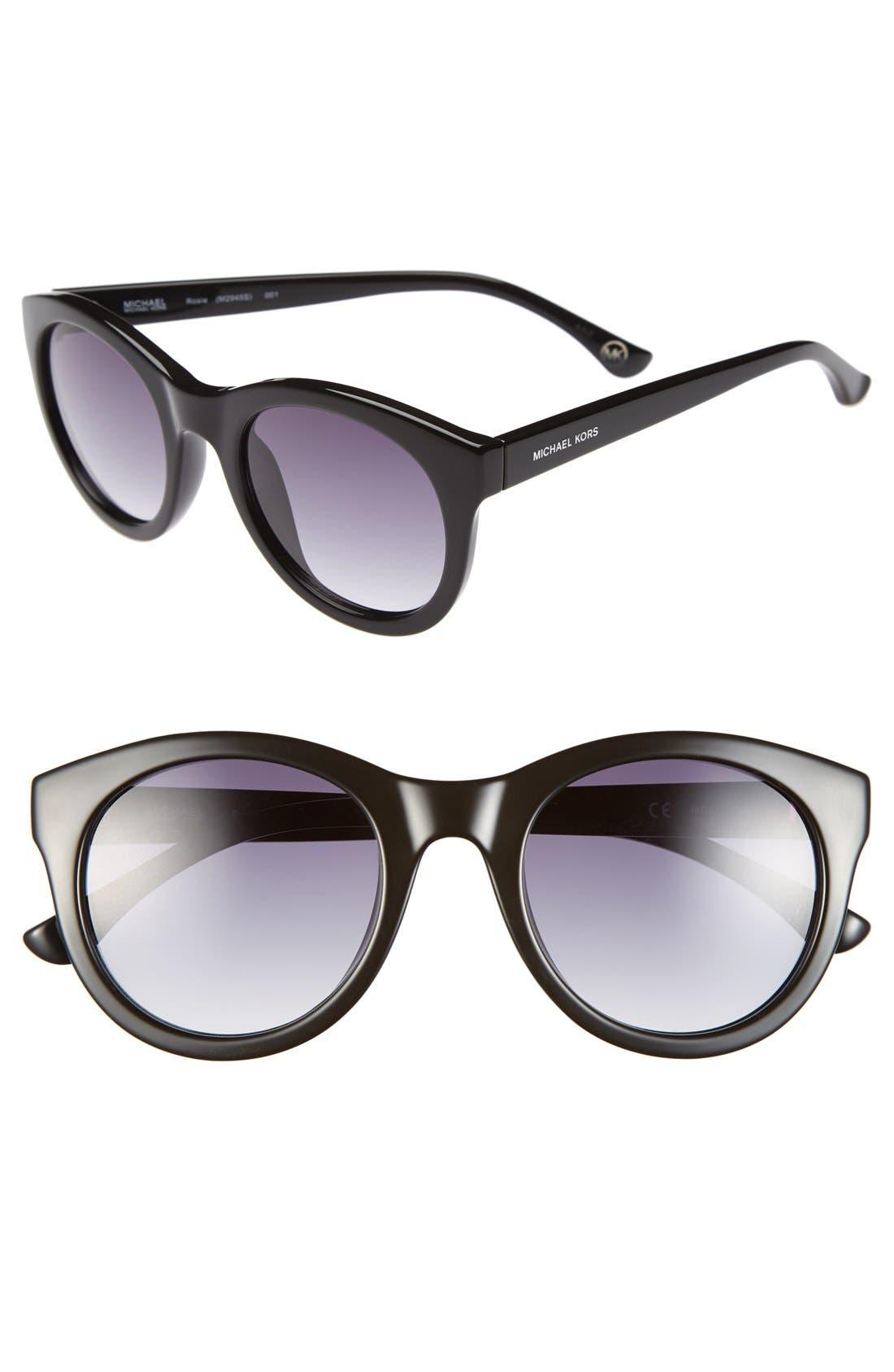MICHAEL MICHAEL KORS 'Rosie' 49mm Sunglasses, Main, color, 001