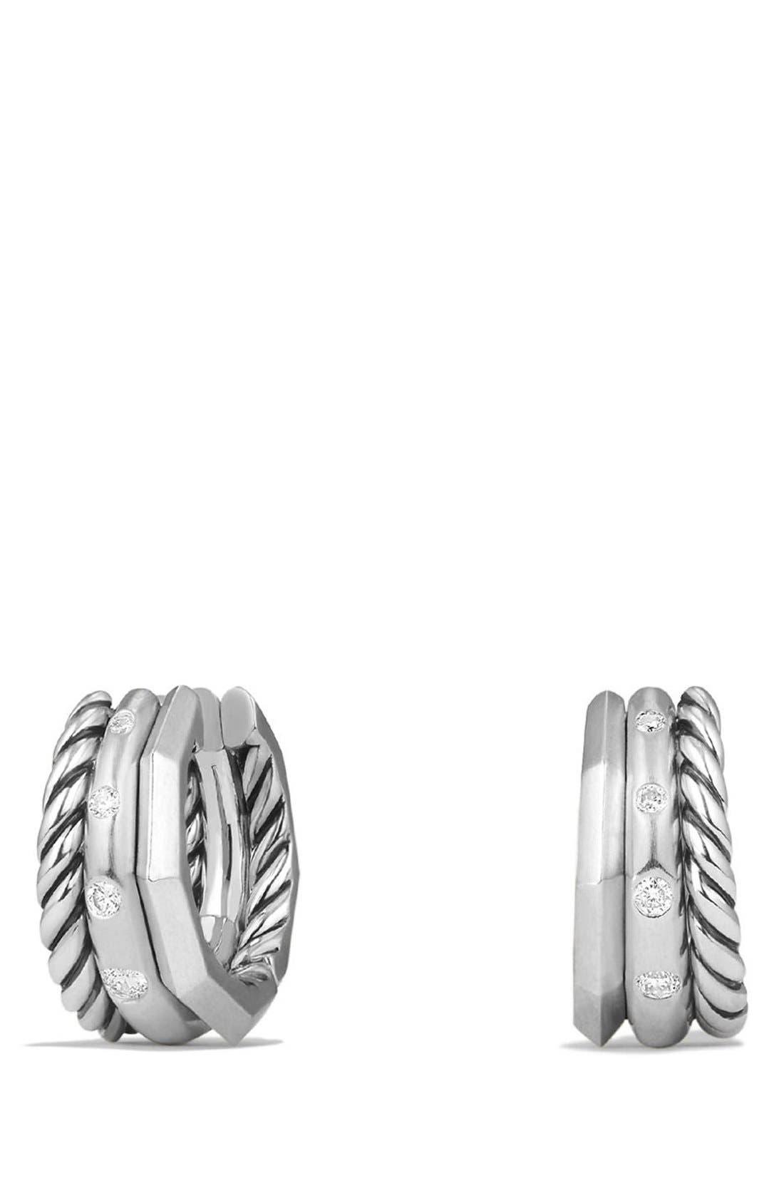 DAVID YURMAN, 'Stax' Diamond Huggie Hoop Earrings, Main thumbnail 1, color, SILVER