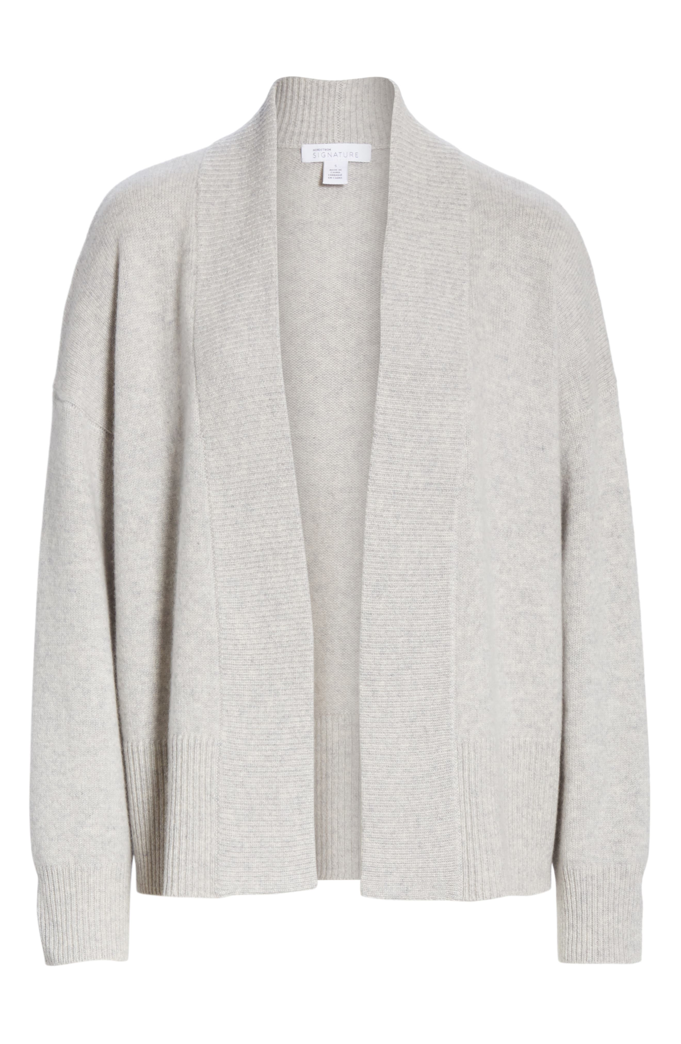 NORDSTROM SIGNATURE, Cashmere Blend Cardigan, Alternate thumbnail 6, color, GREY CLAY HEATHER