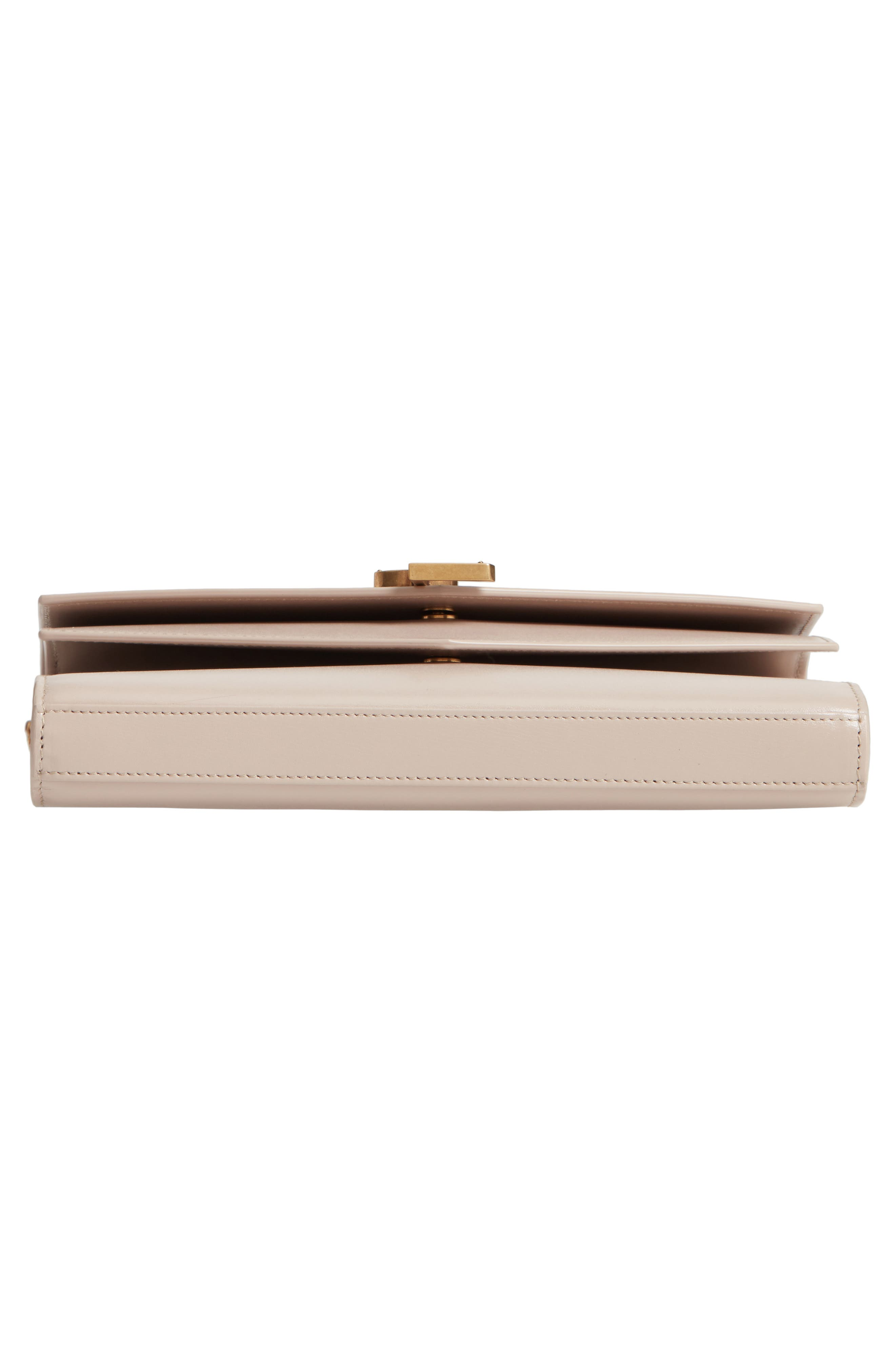 SAINT LAURENT, Sulpice Leather Crossbody Wallet, Alternate thumbnail 6, color, LIGHT NATURAL