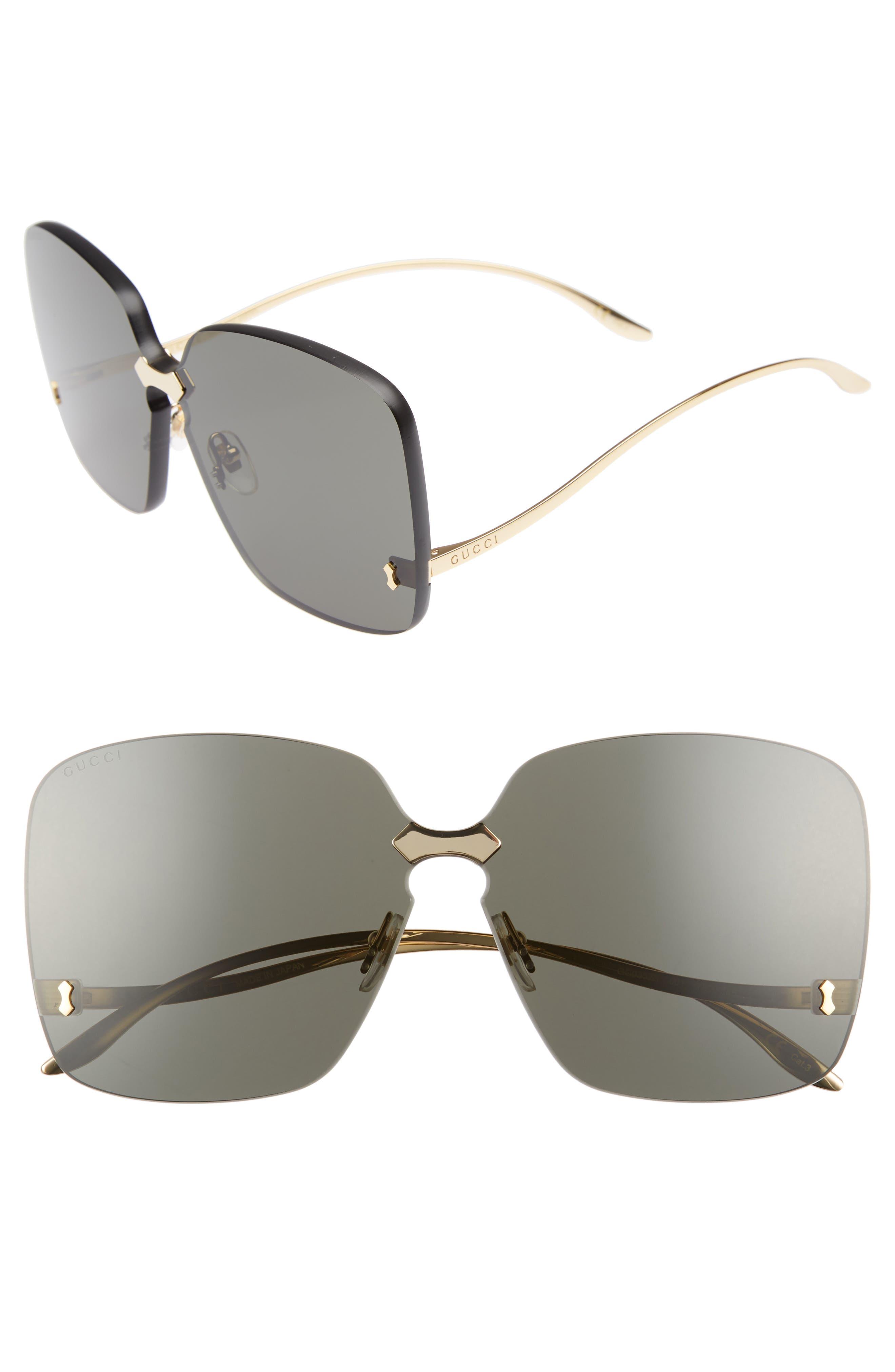 GUCCI, 99mm Rimless Sunglasses, Main thumbnail 1, color, 710