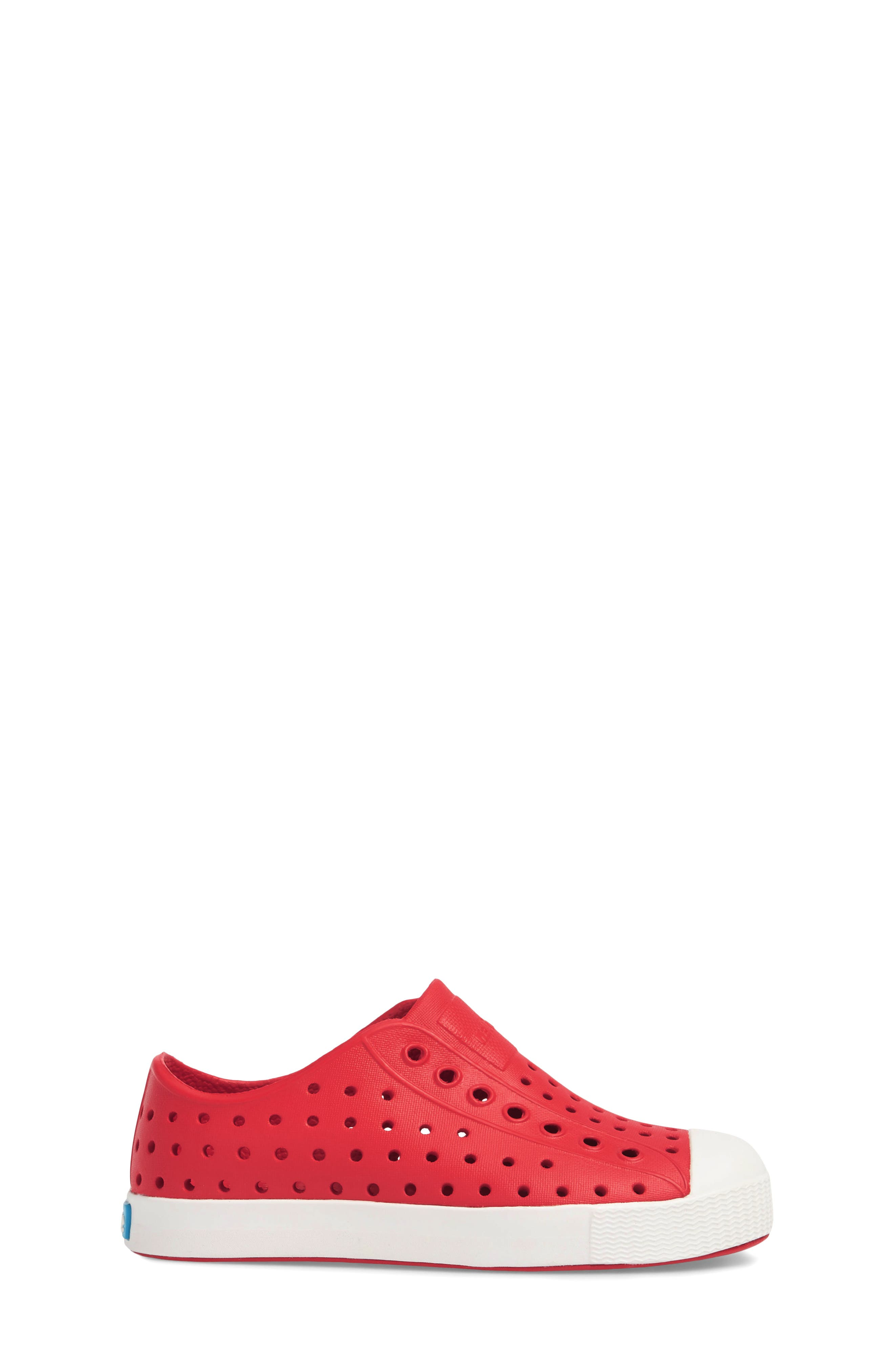 NATIVE SHOES, Jefferson Water Friendly Slip-On Vegan Sneaker, Alternate thumbnail 3, color, TORCH RED/ SHELL WHITE