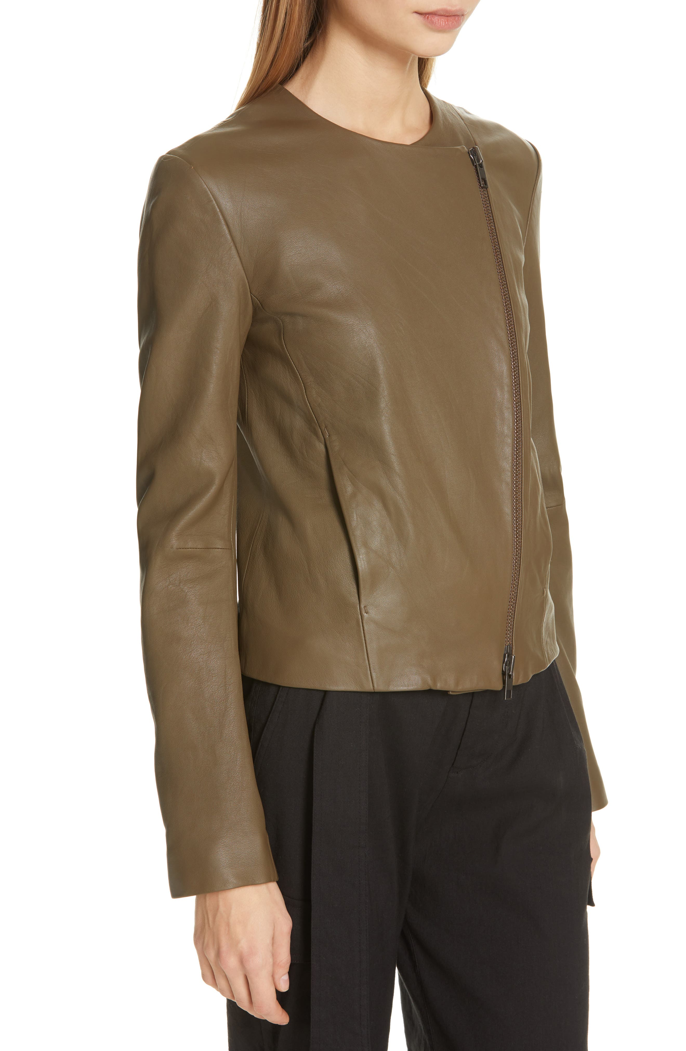 VINCE, Cross Front Leather Jacket, Alternate thumbnail 5, color, OLIVE WOOD