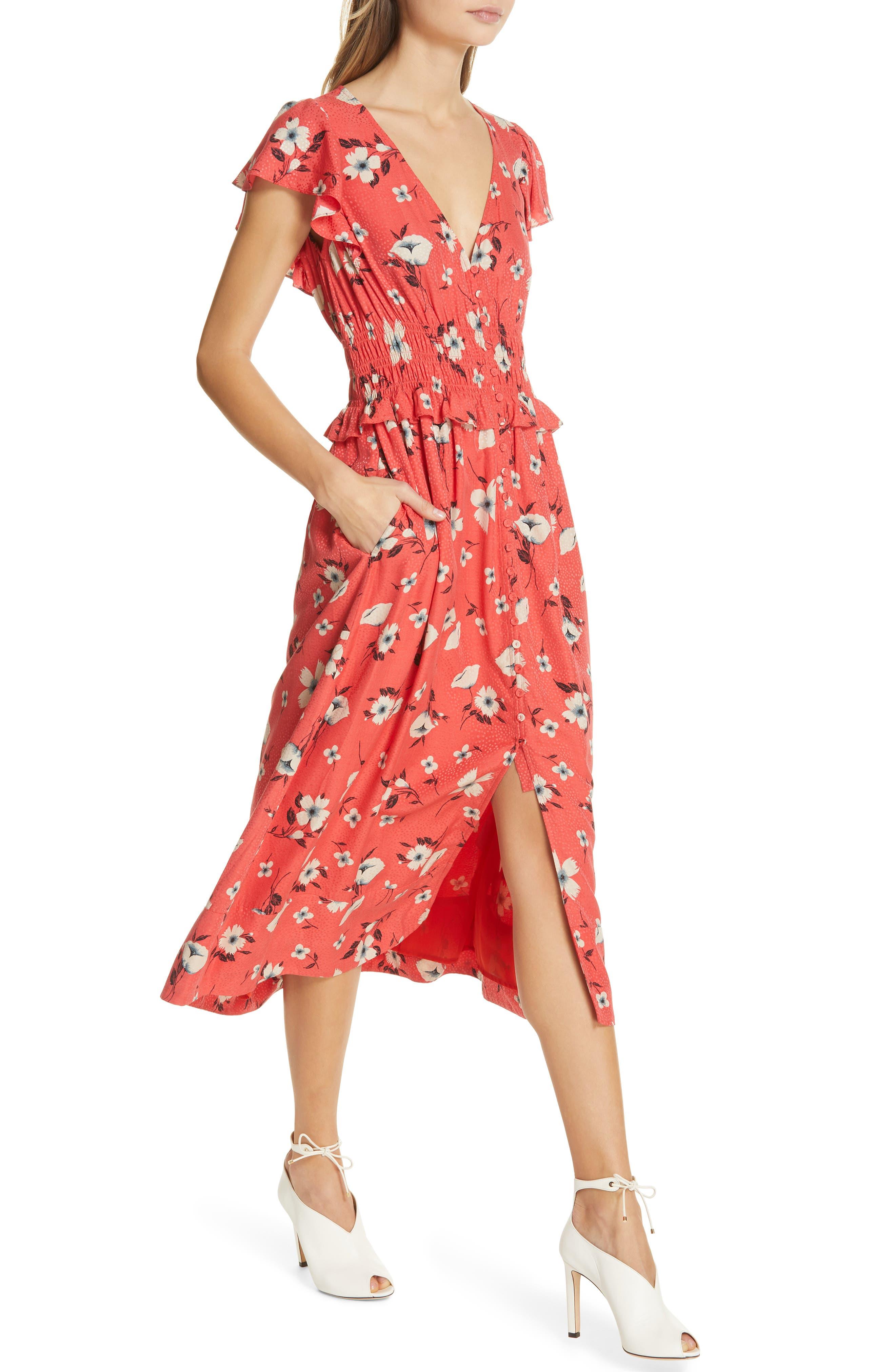 REBECCA TAYLOR, Daniella Floral Jacquard Silk Blend Dress, Alternate thumbnail 5, color, PUNCH COMBO